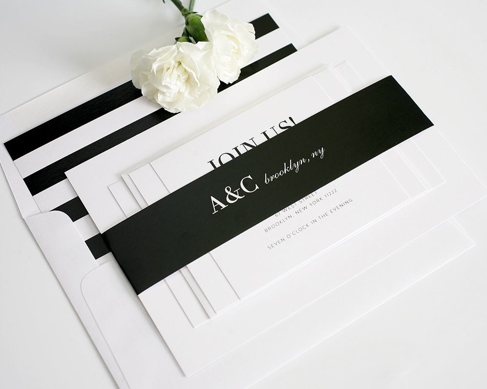 Urban Wedding Invitations With Black And White Stripes ...