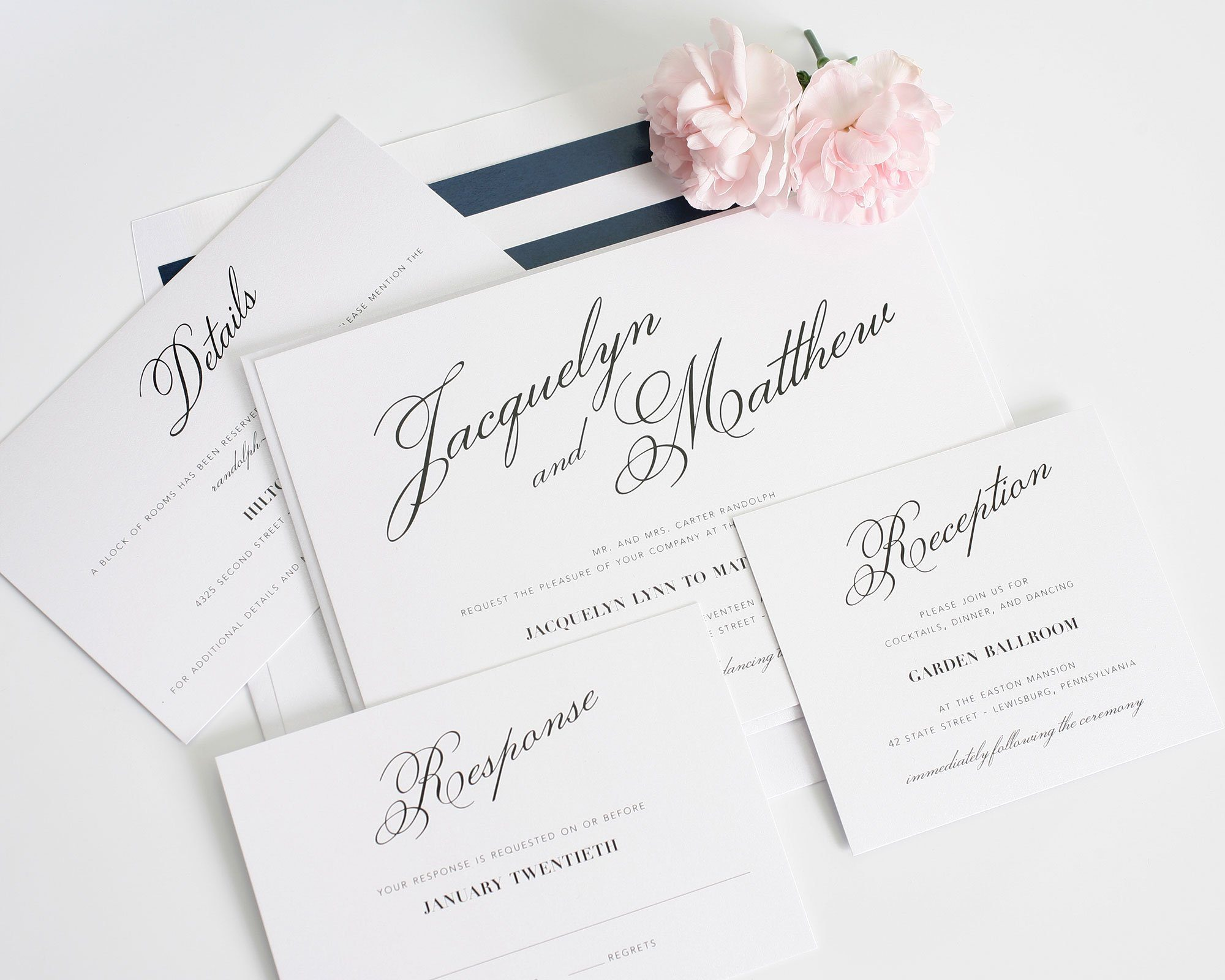 Navy wedding invitations with script