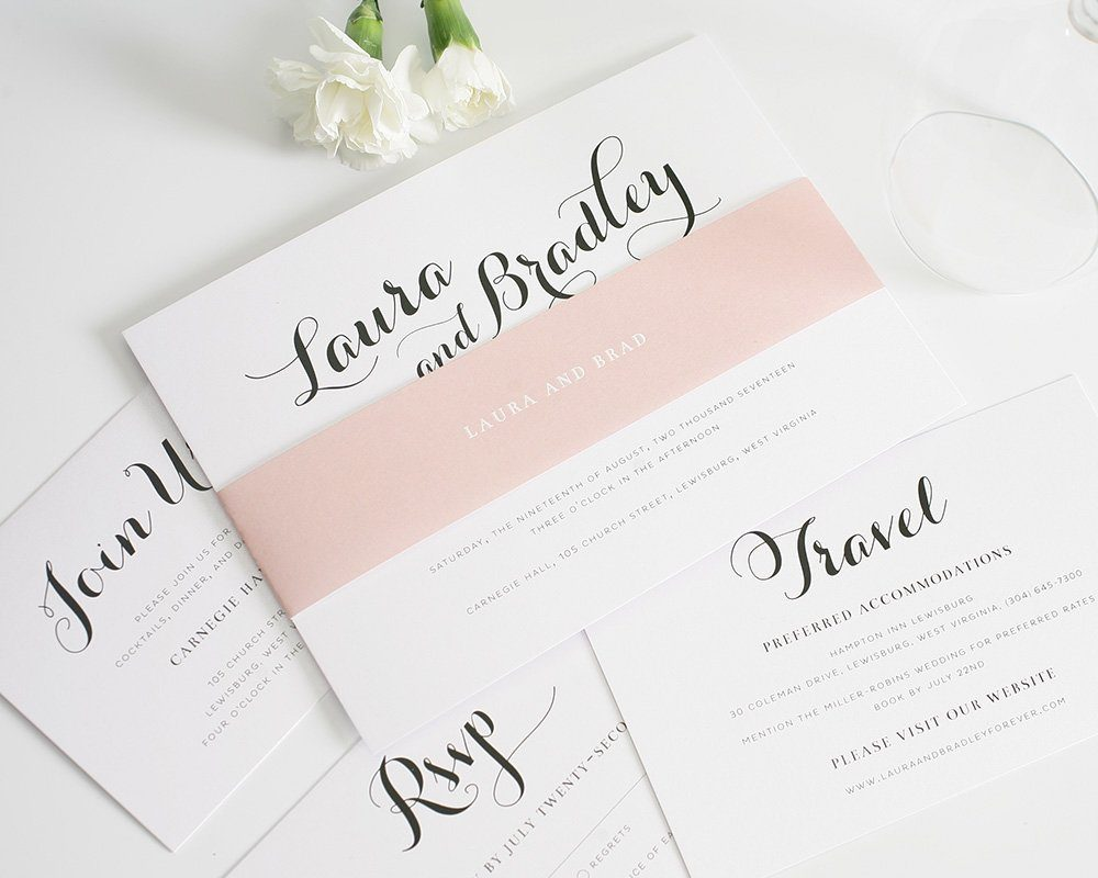 Bold calligraphy wedding invitations in romantic blush