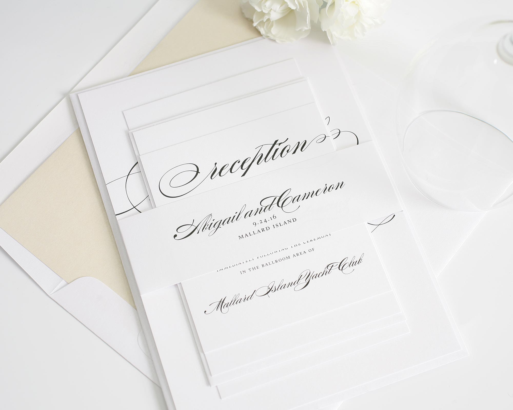 Modern wedding invitations in champagne and ivory