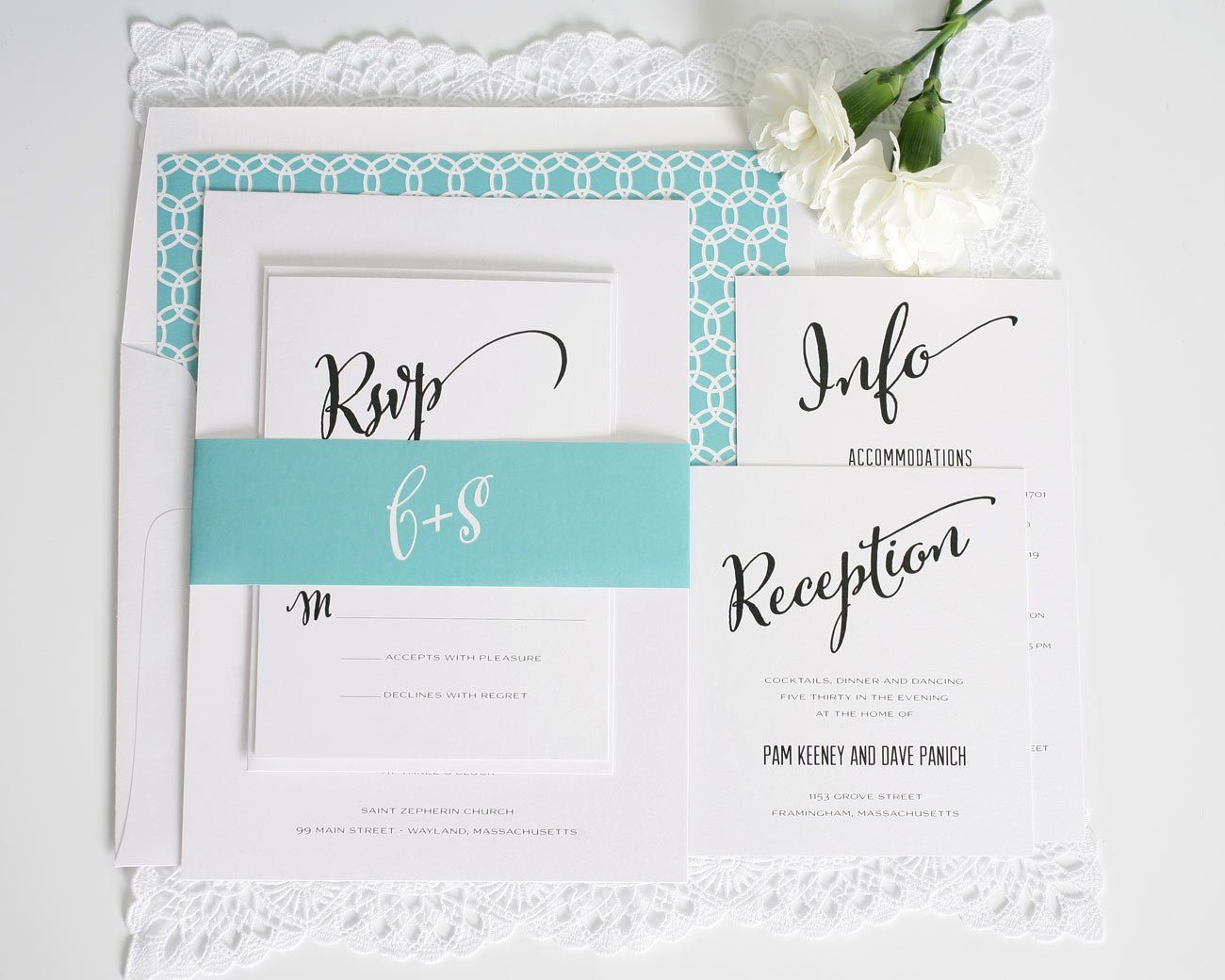Aquamarine script wedding invitations