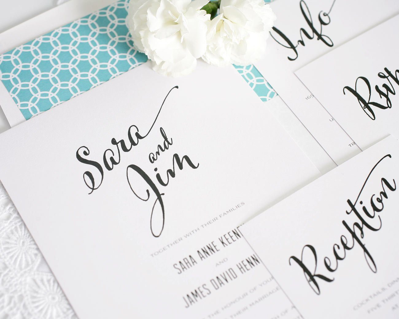 Modern wedding invitations with aqua accents