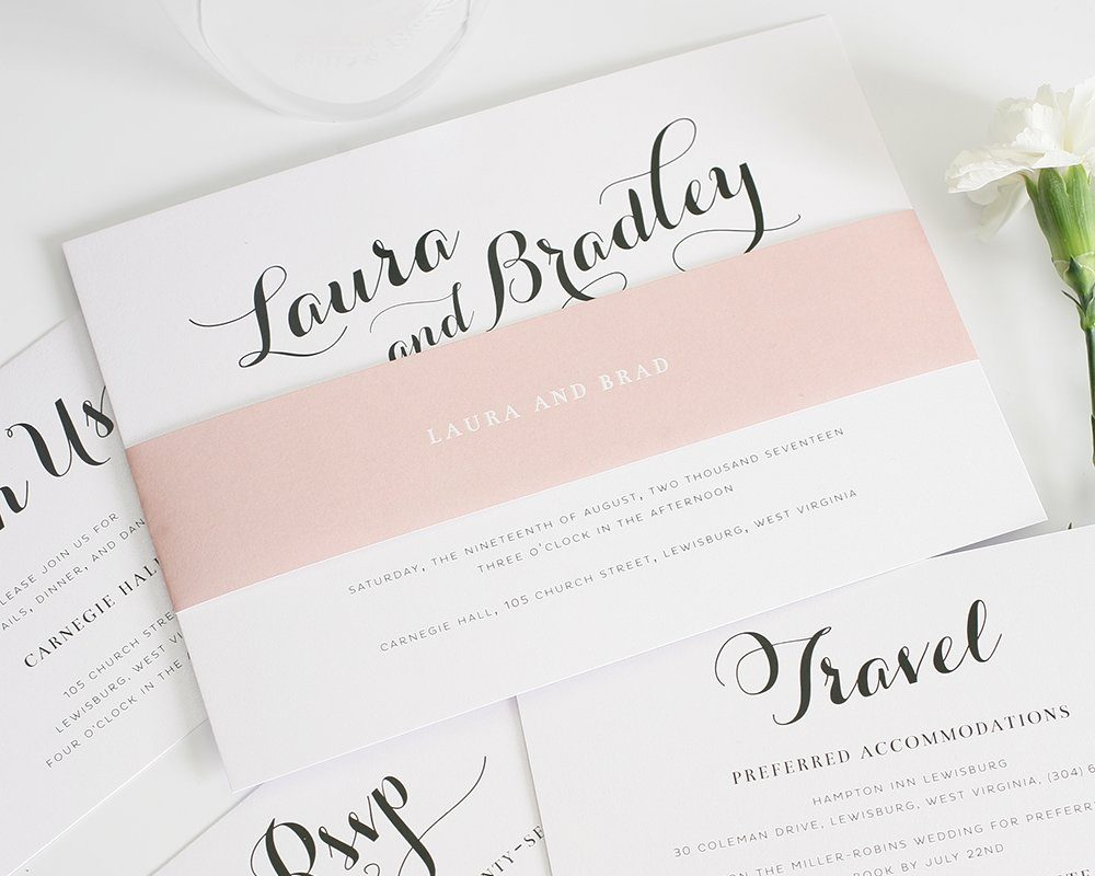 romantic wedding invitation package with blush accents blush calligraphy wedding inviations - Blush Wedding Invitations