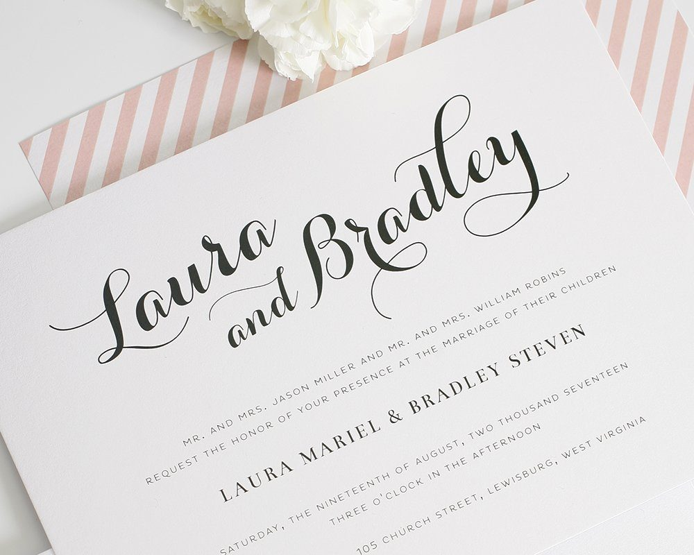 calligraphy wedding invitations in blush