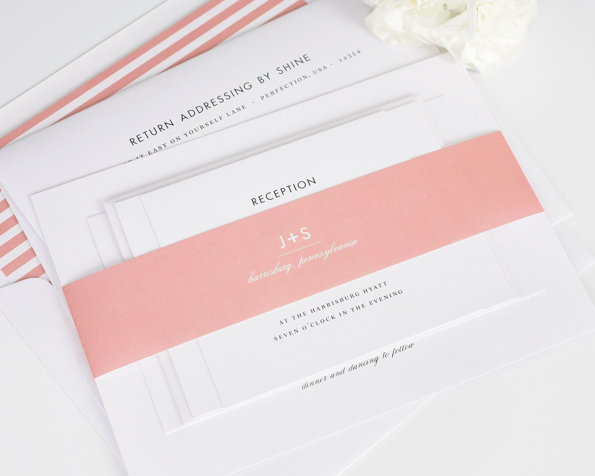 Coral striped romantic wedding invites