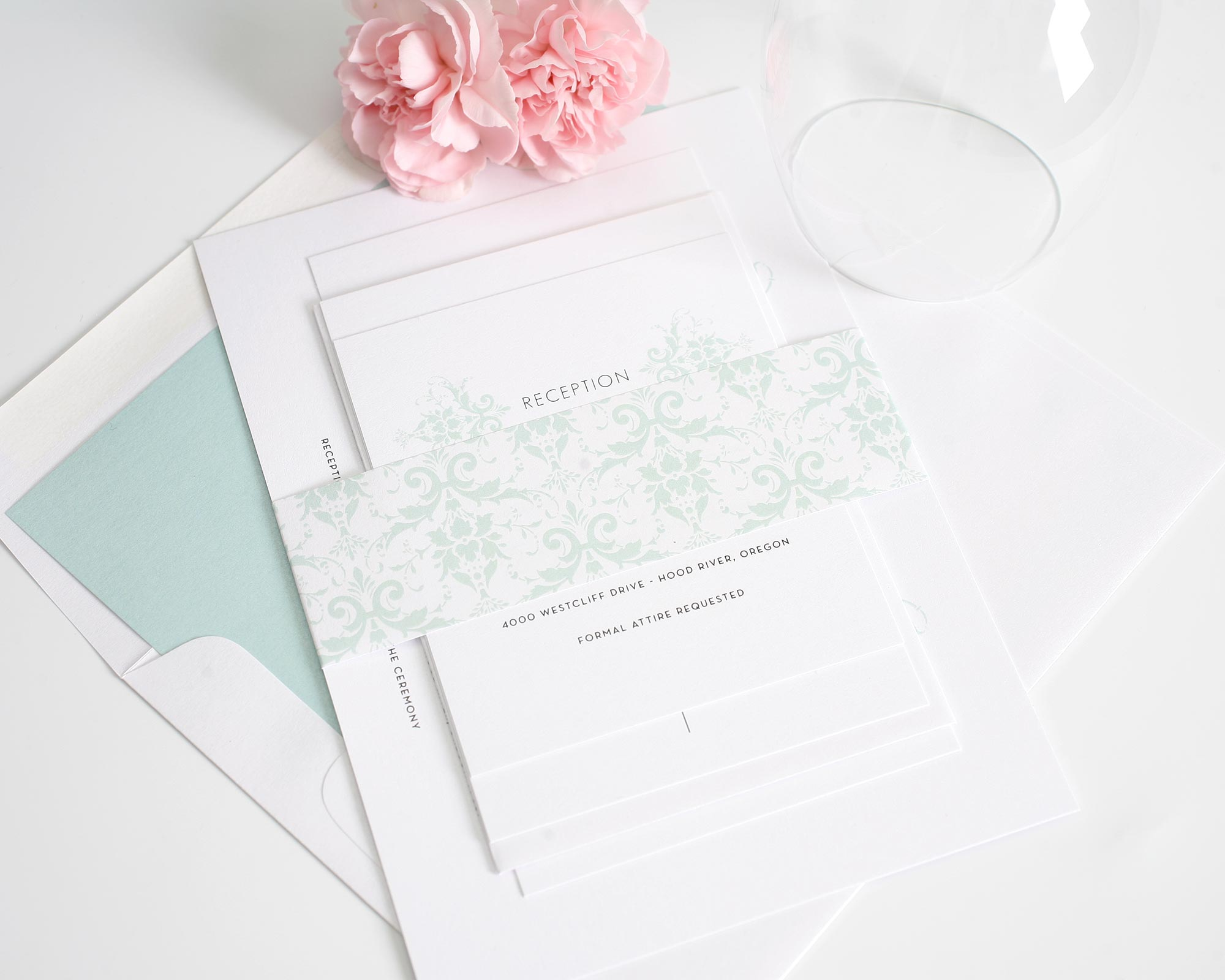 Classic Damask Wedding Invitations in Soft Mint