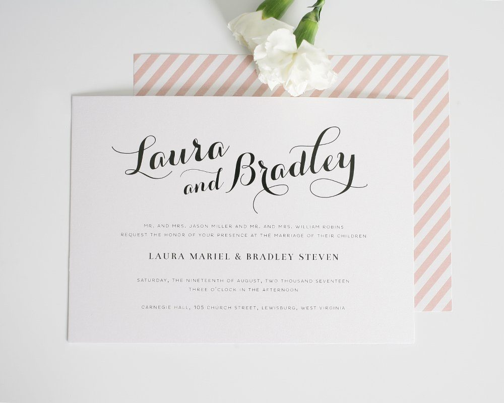 romantic script wedding invitations in blush
