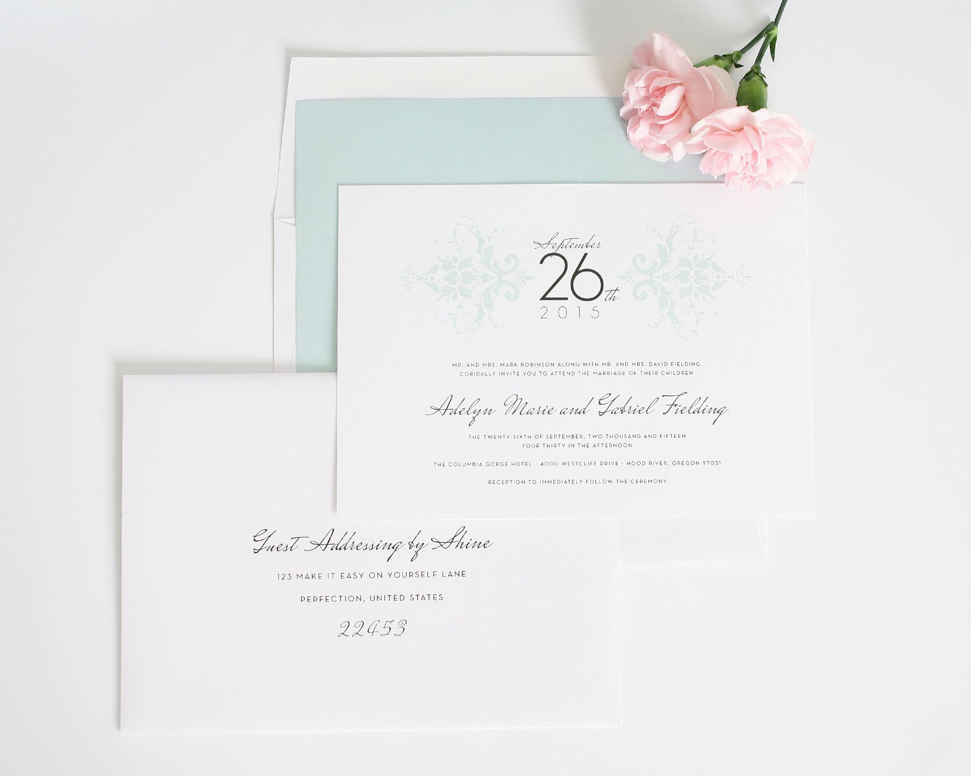 Elegant Wedding Invitations in Mint Damask