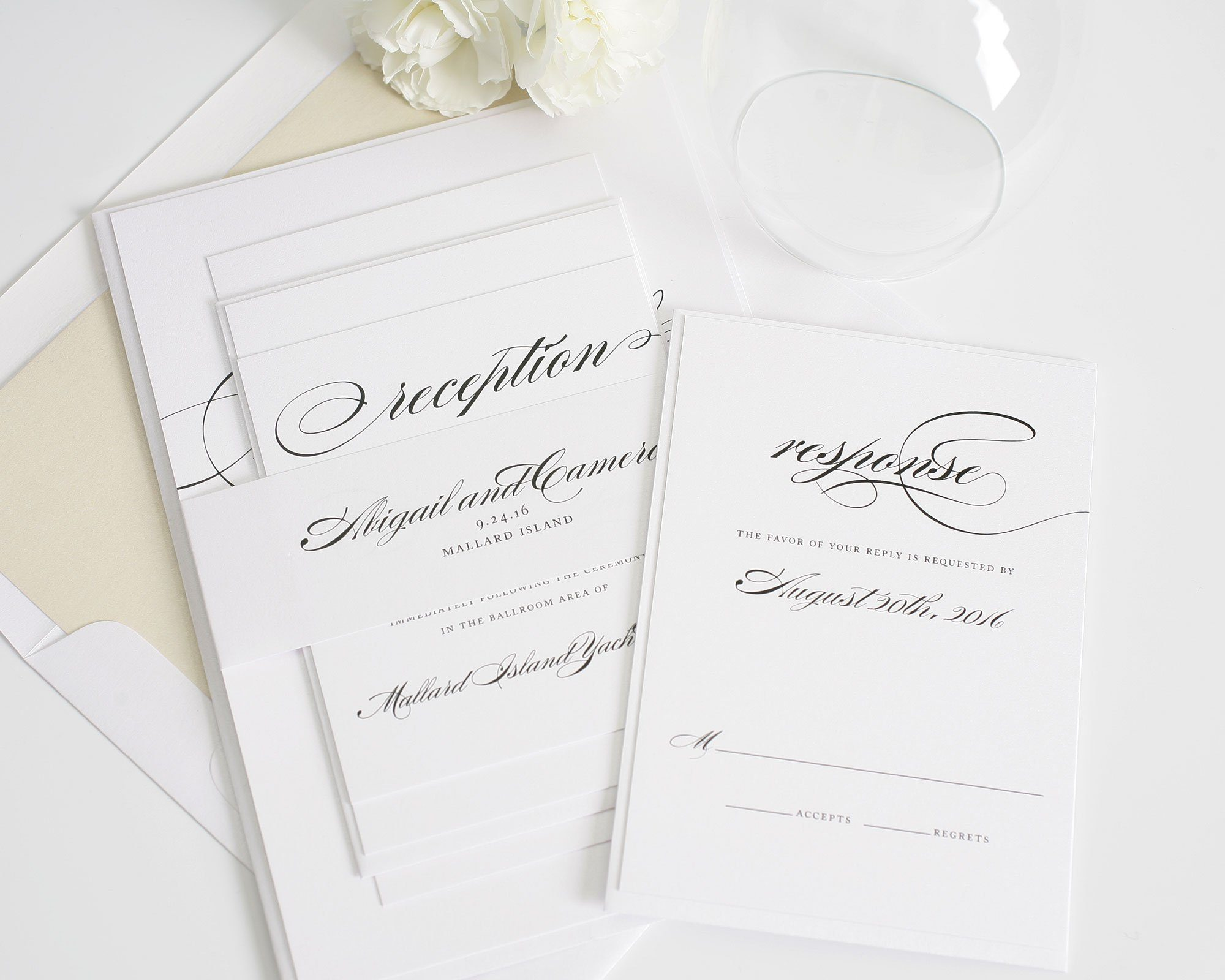 Classic wedding invitations in champagne and ivory