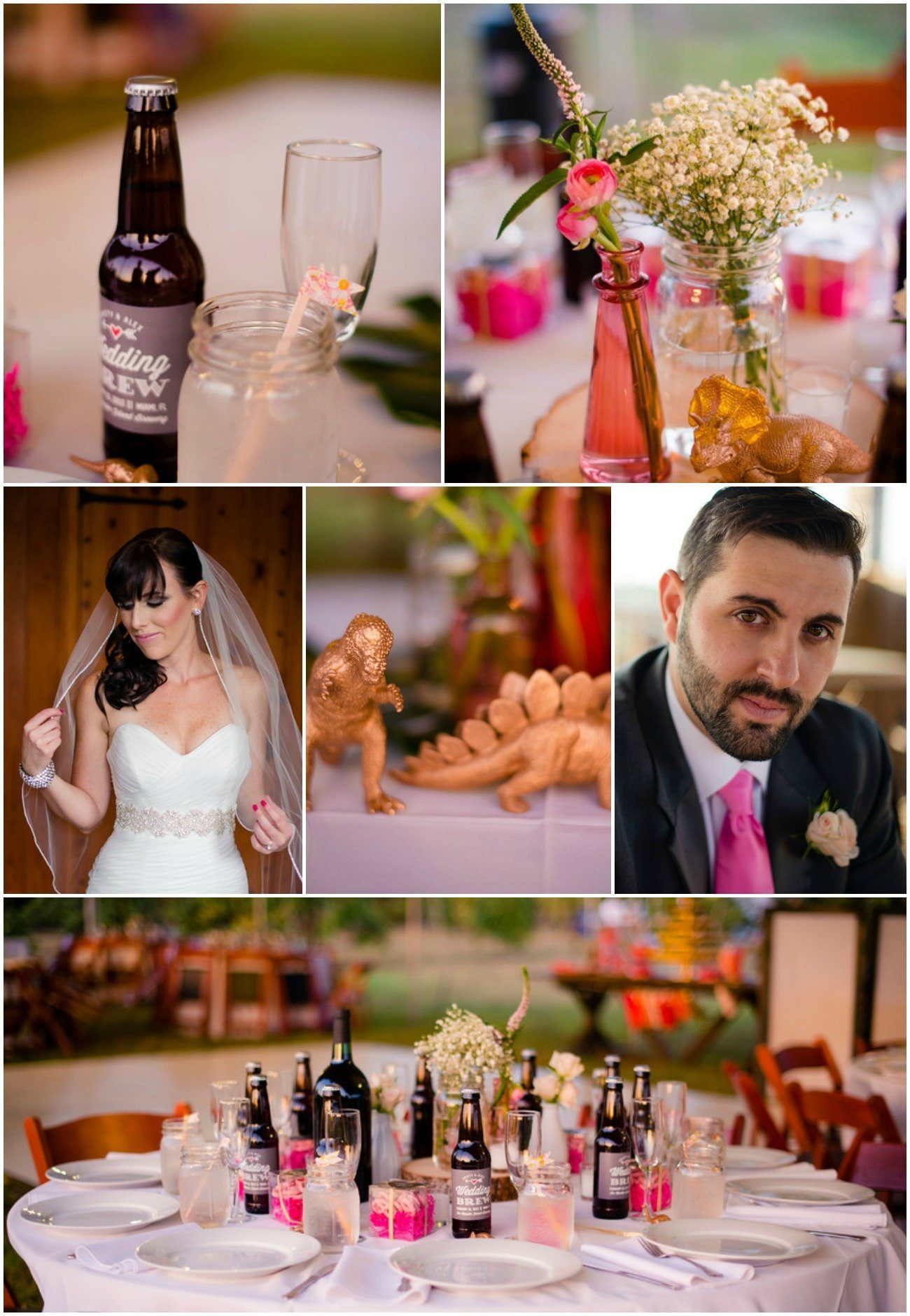 Whimiscal Real Wedding with beer favors