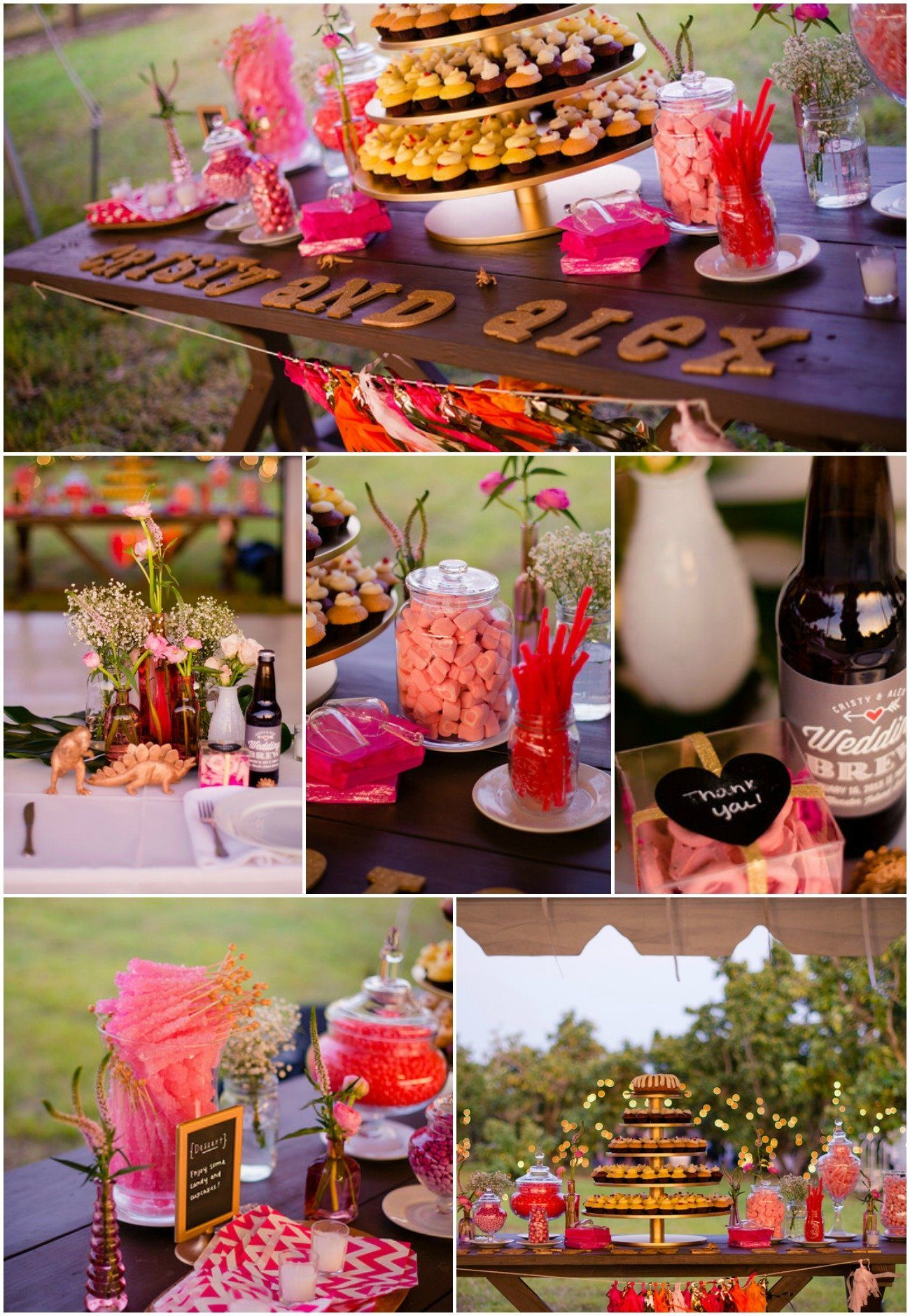 Whimiscal Real Wedding with hot pink candy bar