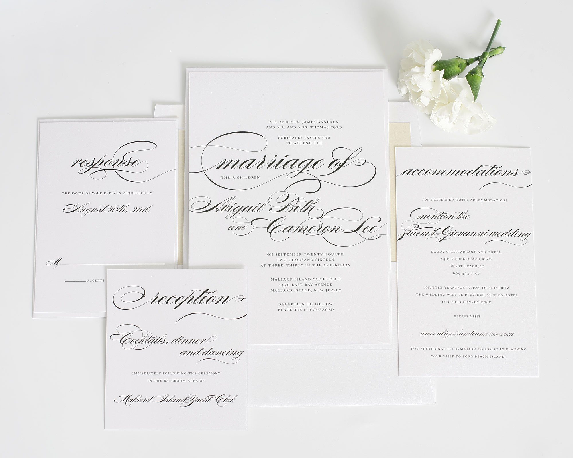 Classic wedding invitations in champagne