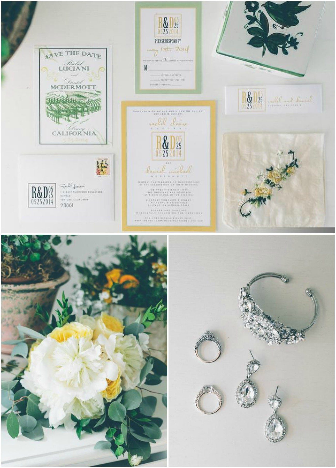 Green and Yellow Rustic Wedding Invitation Suite