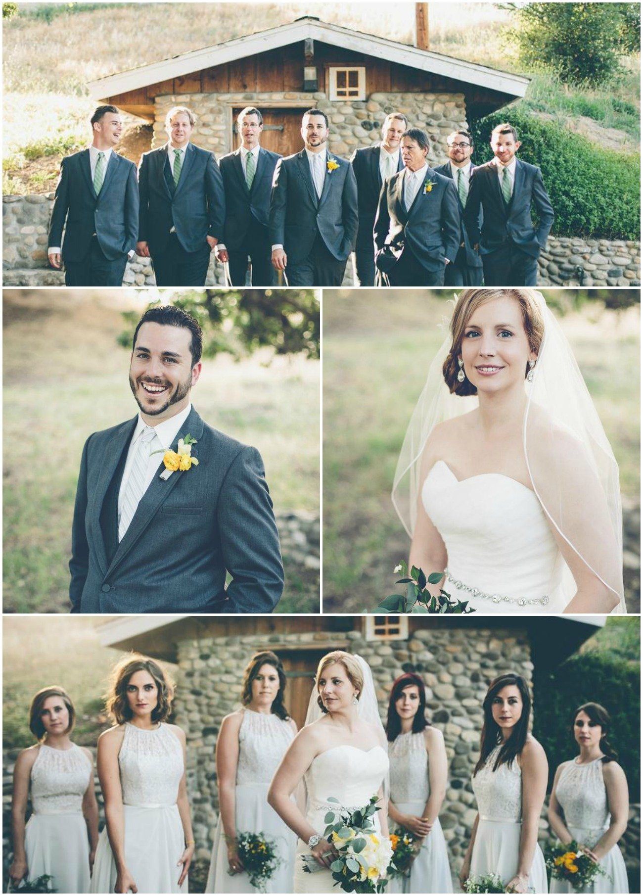 Rustic Chic Bridal Party with Bride and Groom