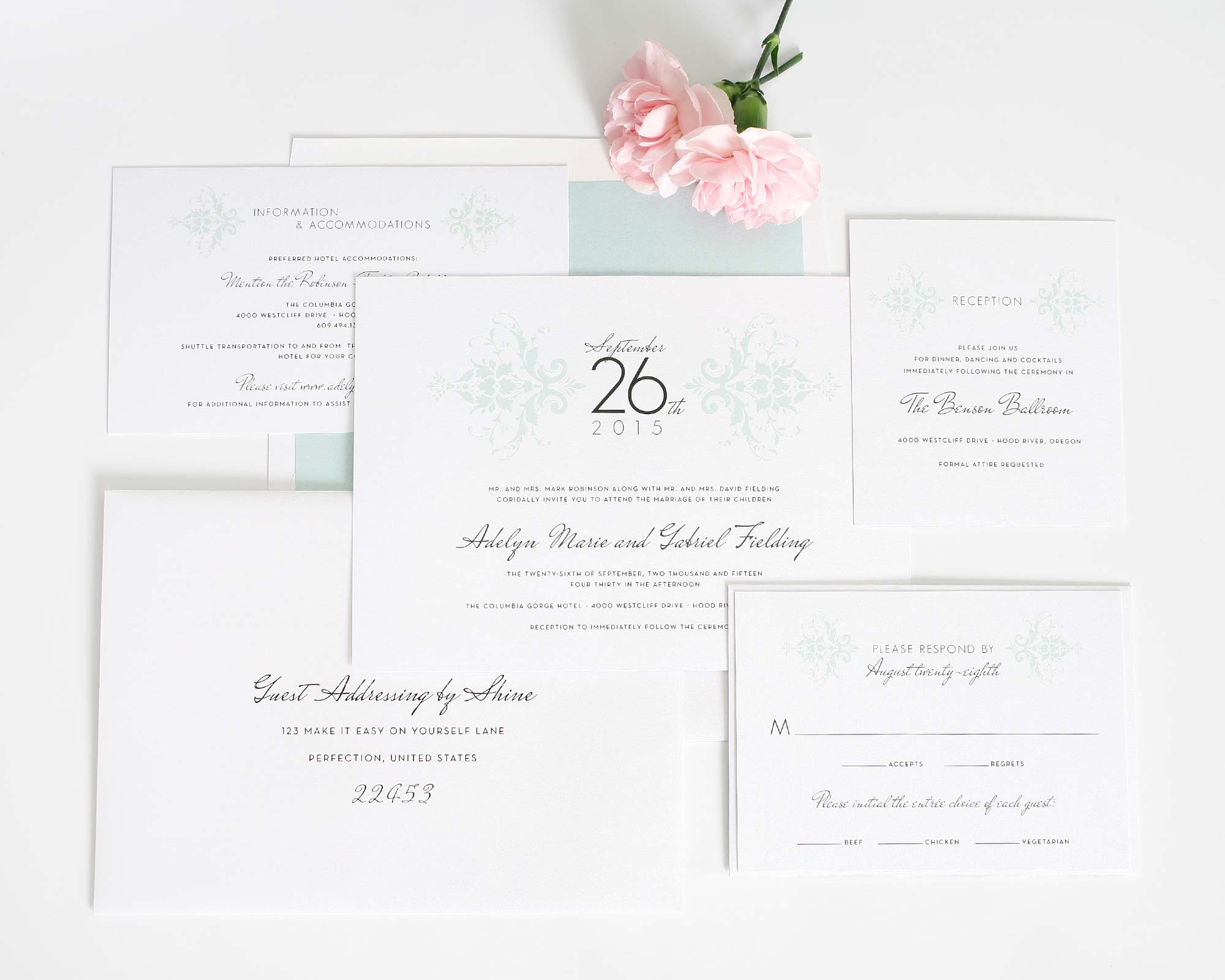 Mint green classic wedding invitations in damask pattern