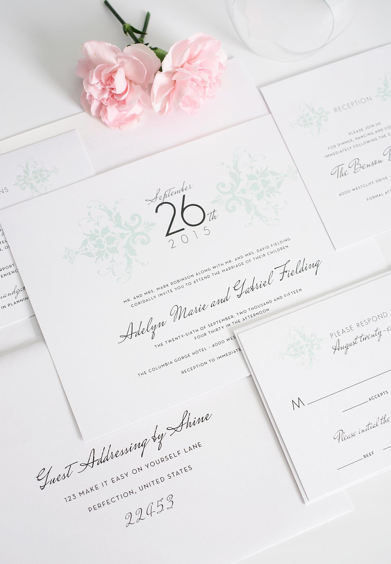 Classic Damask Wedding Invitations in Mint