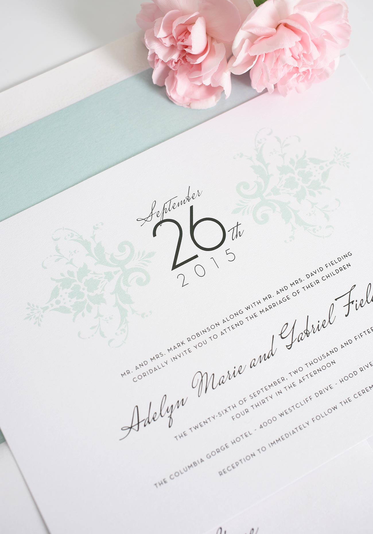 Mint Wedding Invitations in Damask