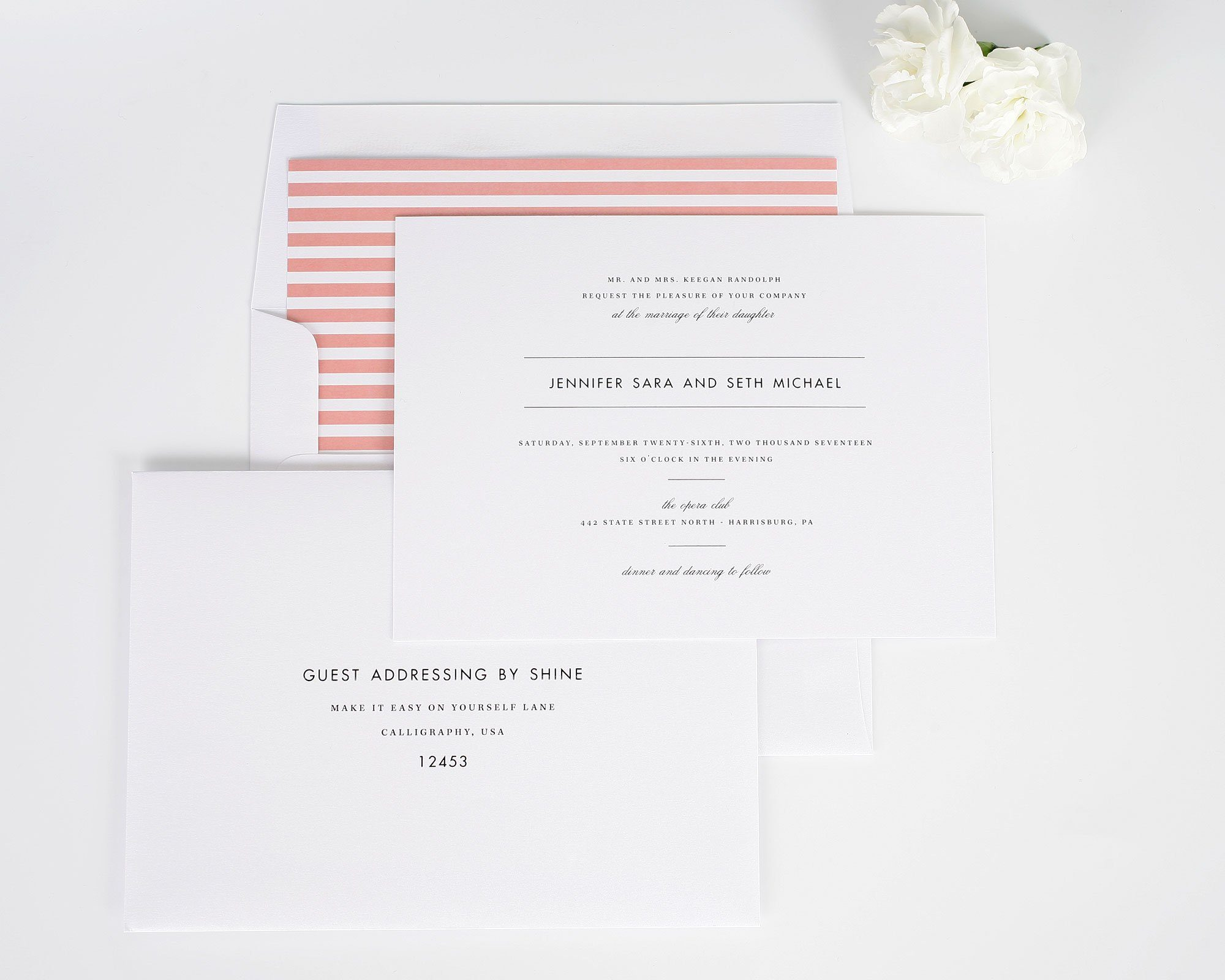modern romantic wedding invites with coral stripes