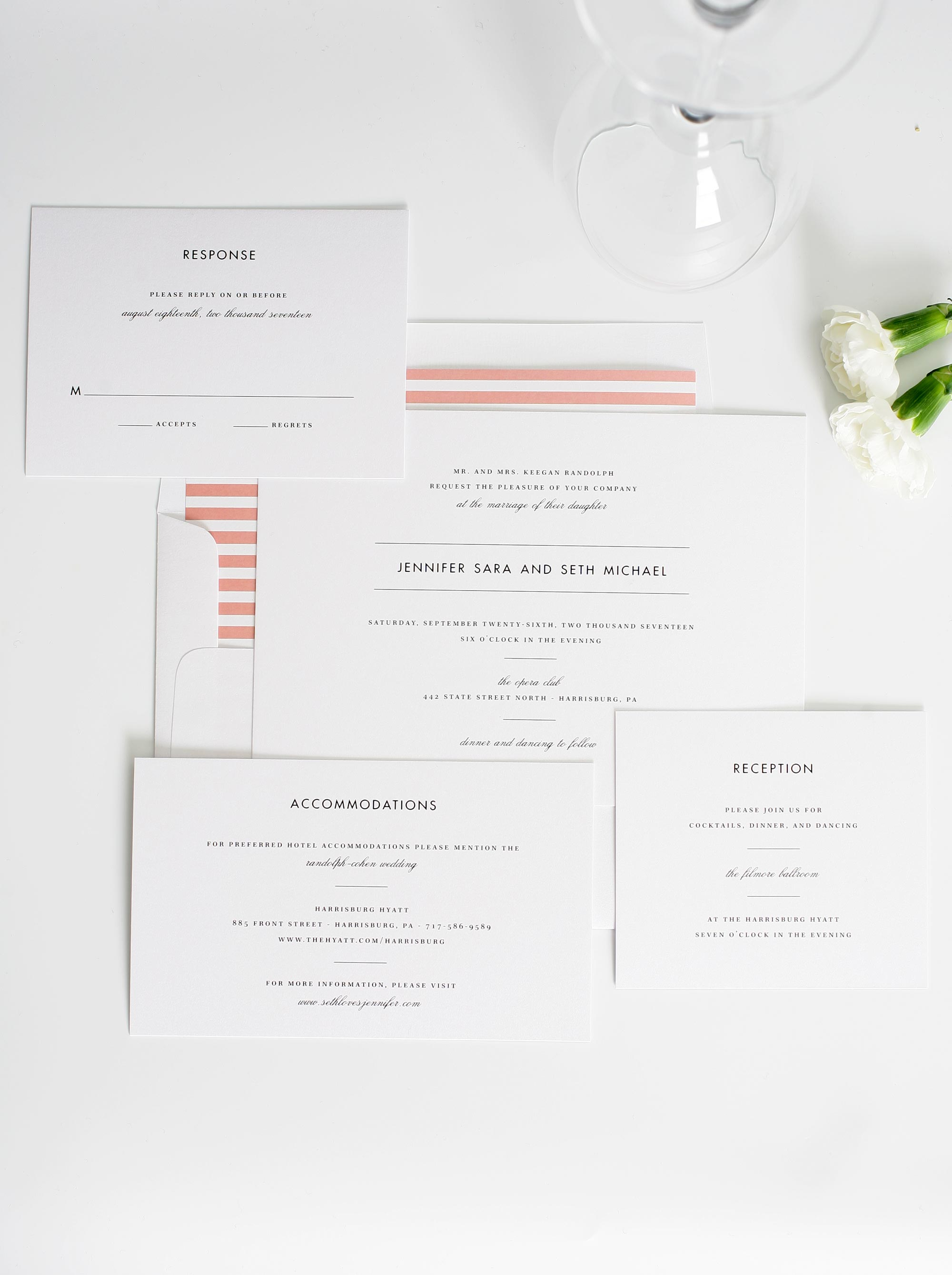 romantic wedding invitation with coral stripes