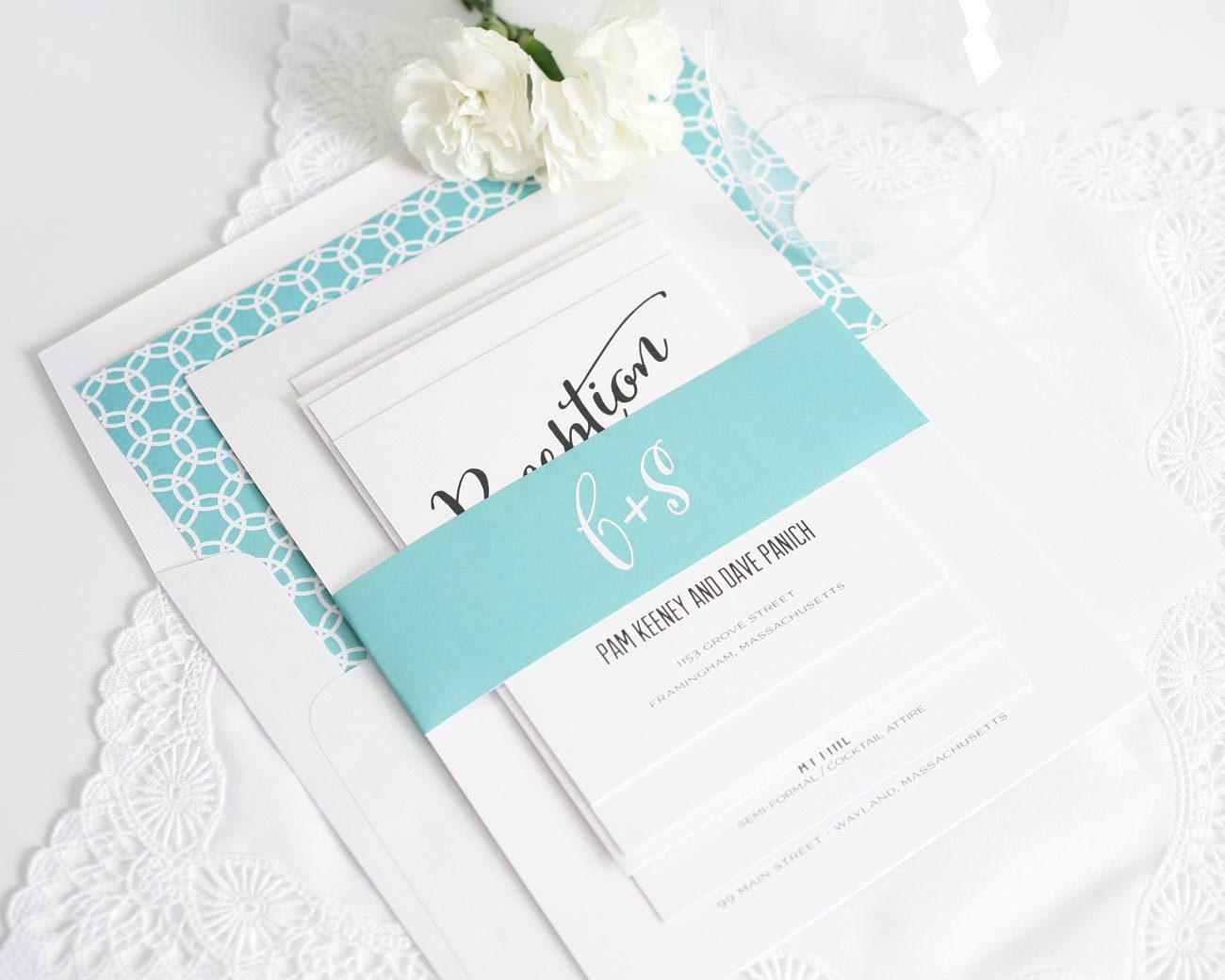 Modern wedding invitations with large script