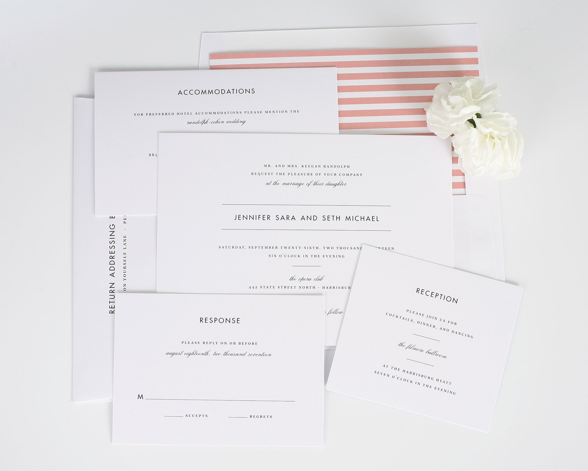 modern wedding invitation suite with coral stripes