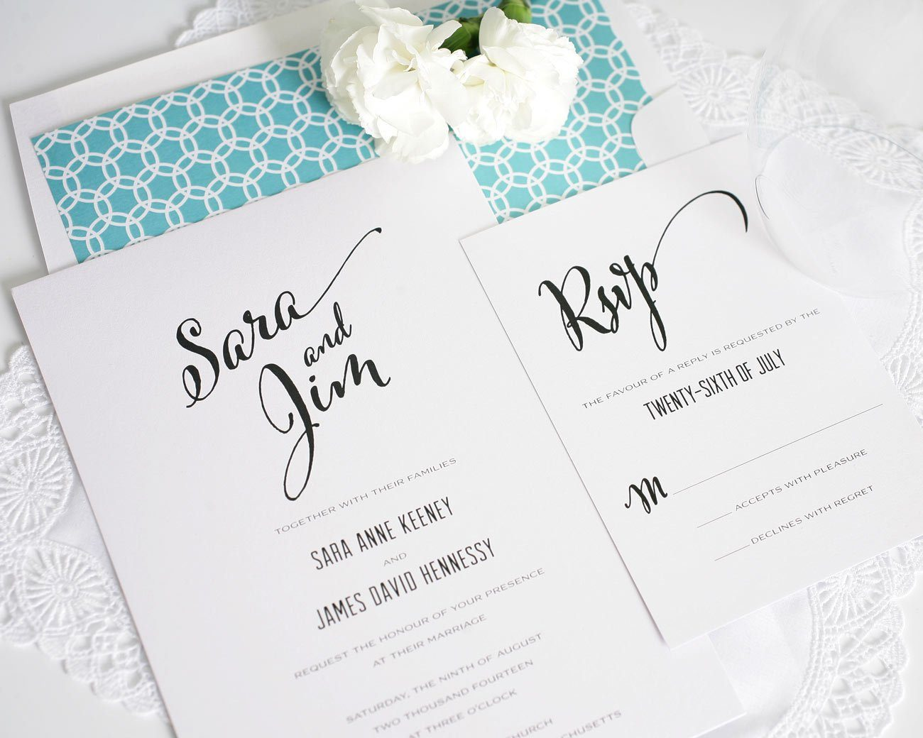 Modern wedding invitations with circle pattern
