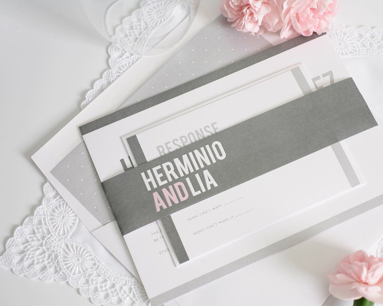 Contemporary Wedding Invitations: Pink And Grey Modern Wedding Invitations