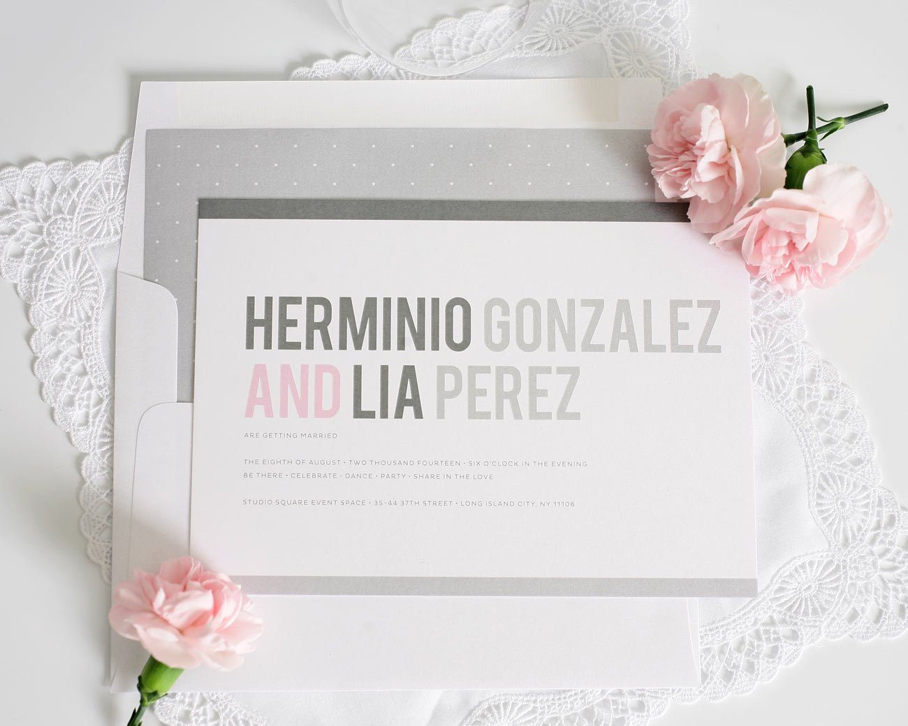 Modern Pink And Gray Wedding Invitations