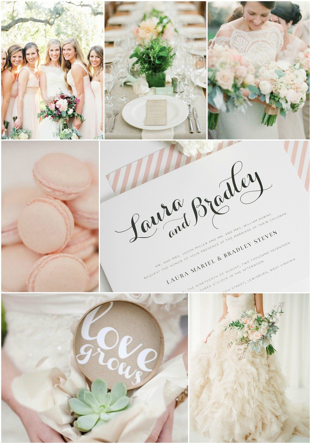 Garden Wedding Inspiration in Blush and Green Wedding Invitations