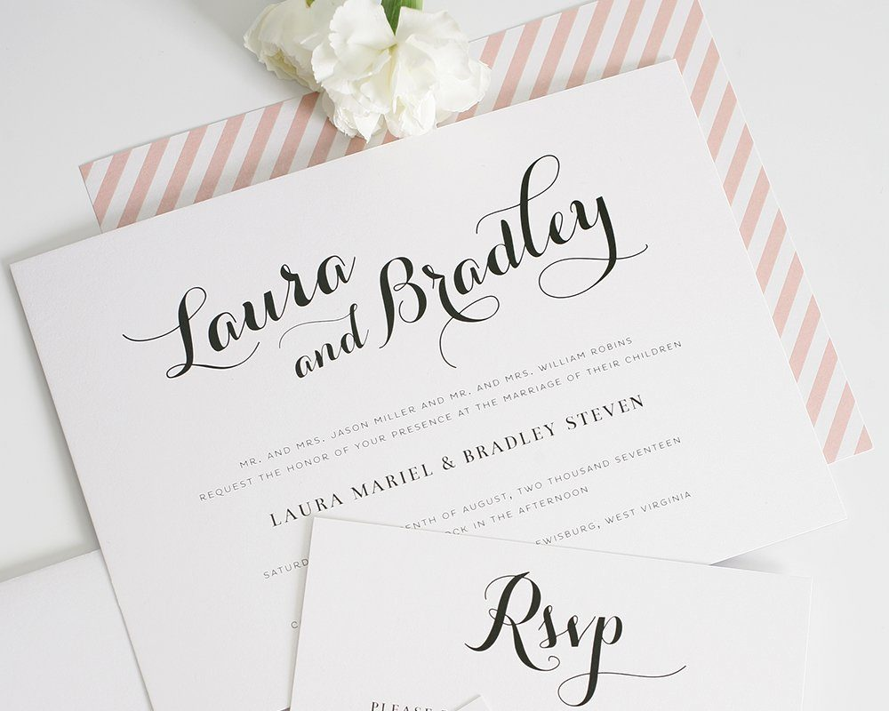 romantic wedding invites with whimical calligraphy