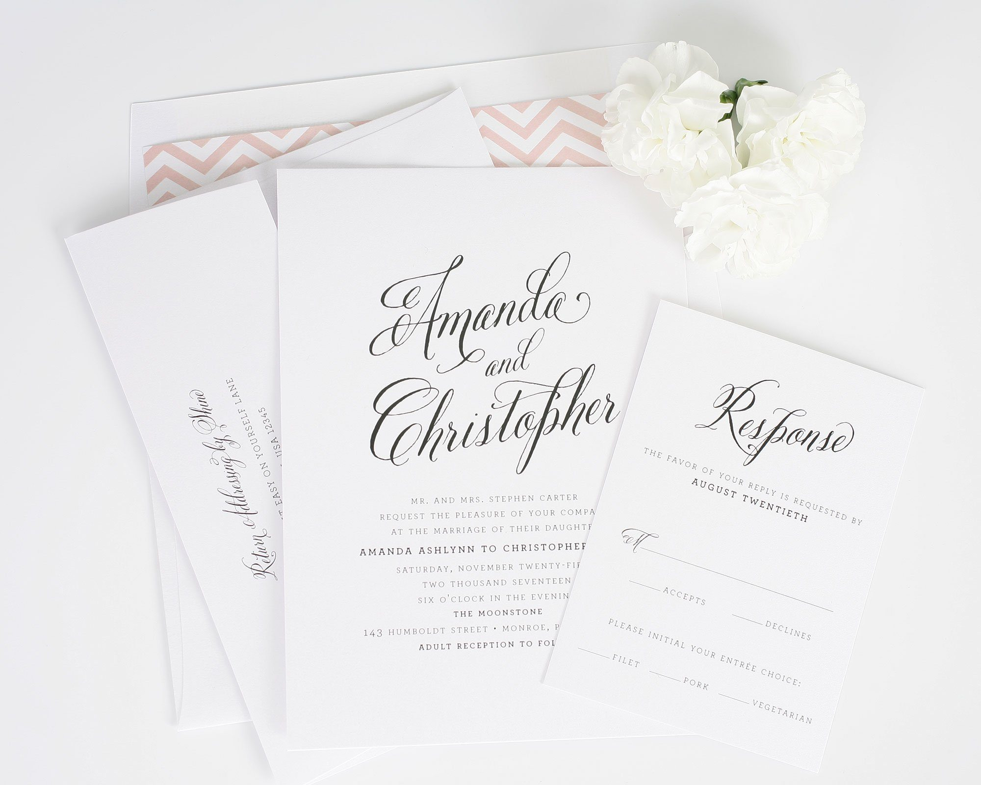 Rustic blush wedding invitation with large script