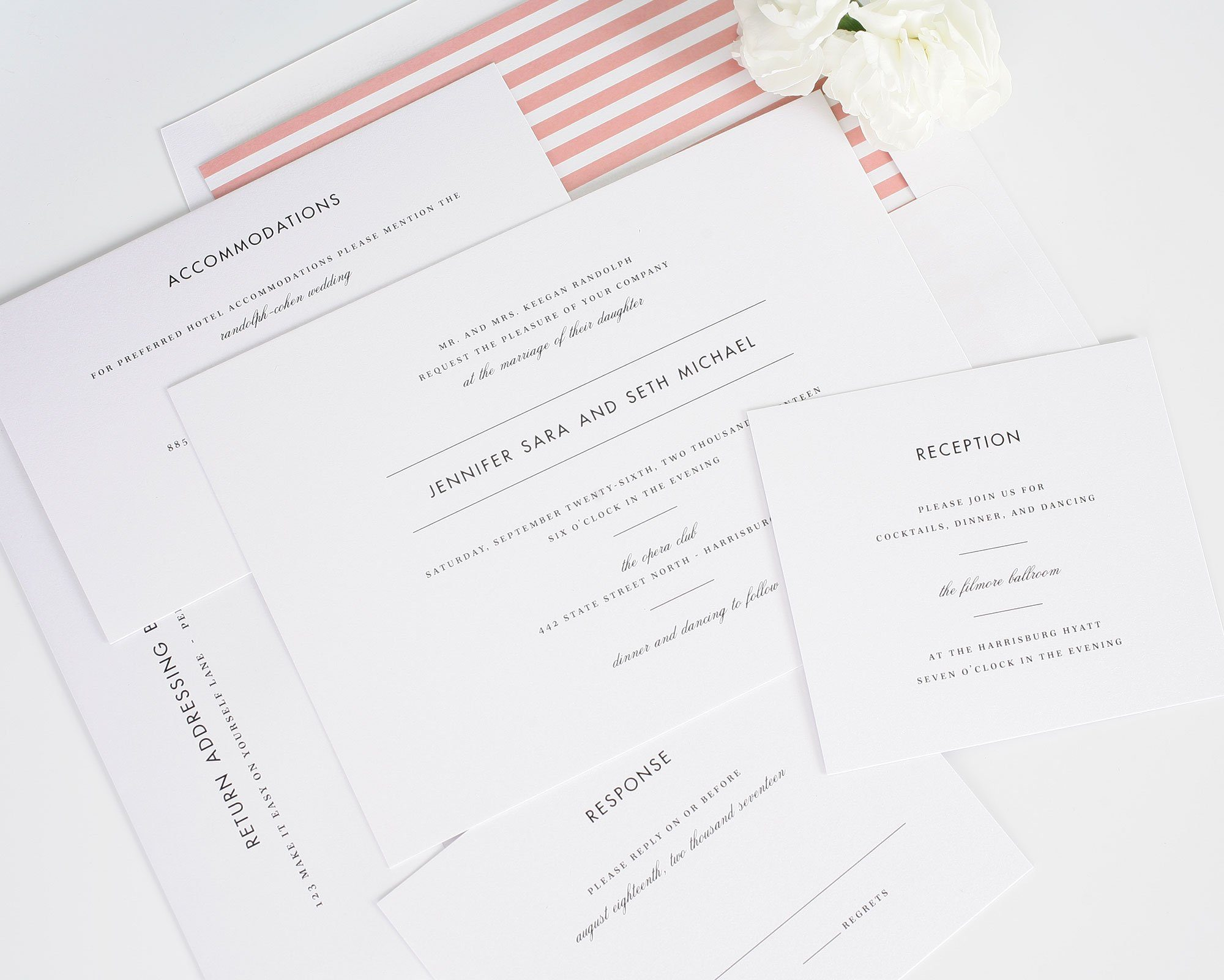 Classic striped wedding invitations