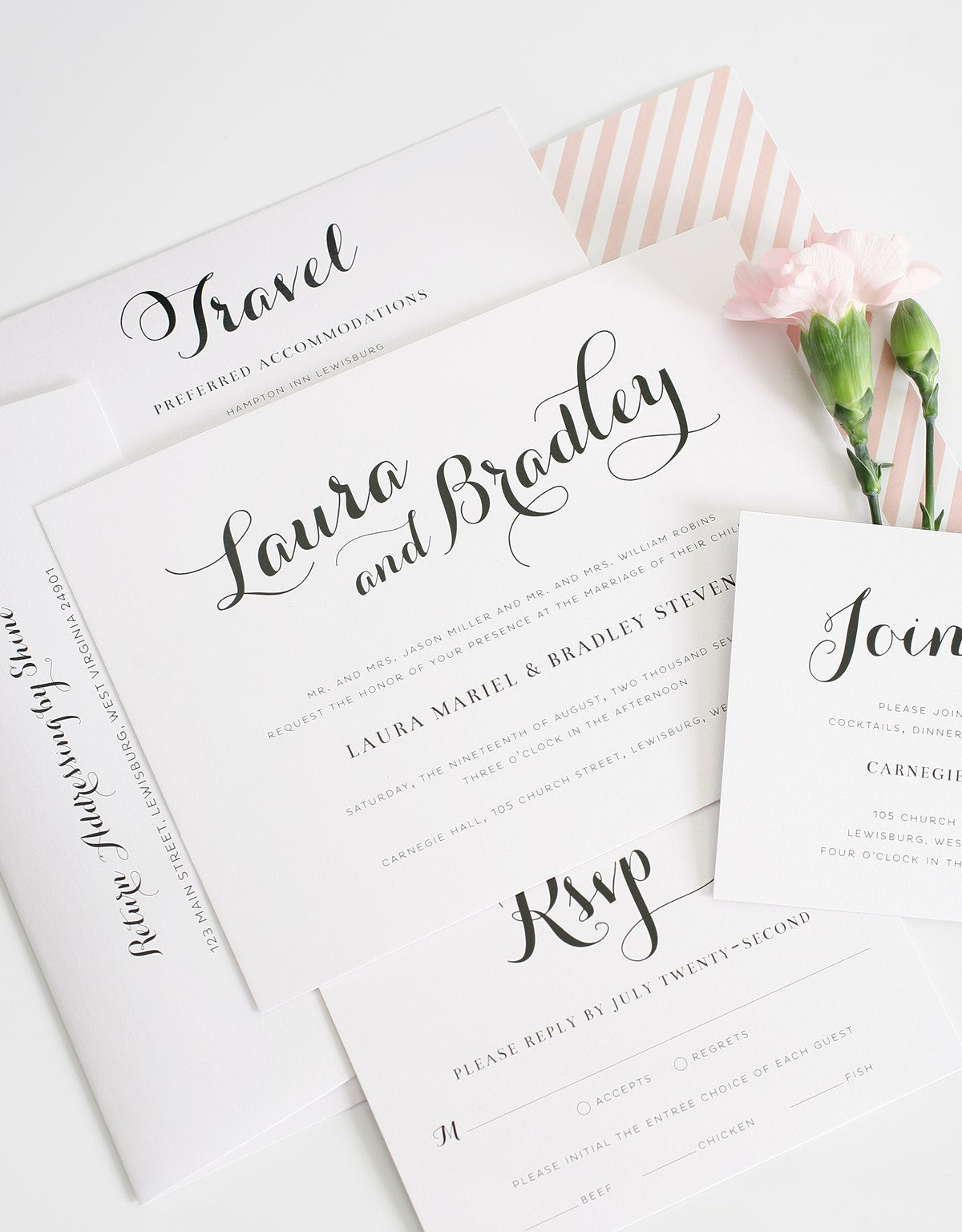 blush wedding inviations with bold calligraphy script