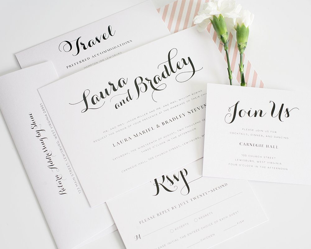 romantic wedding invitation package with blush accents