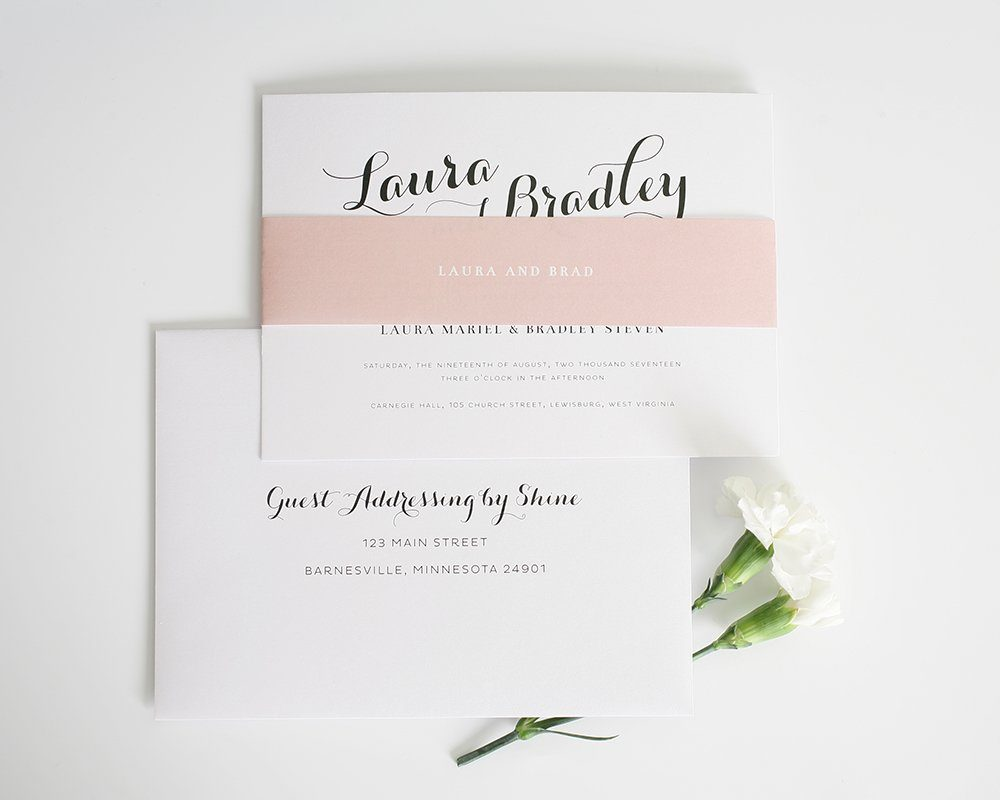 romantic wedding invitation with blush accents