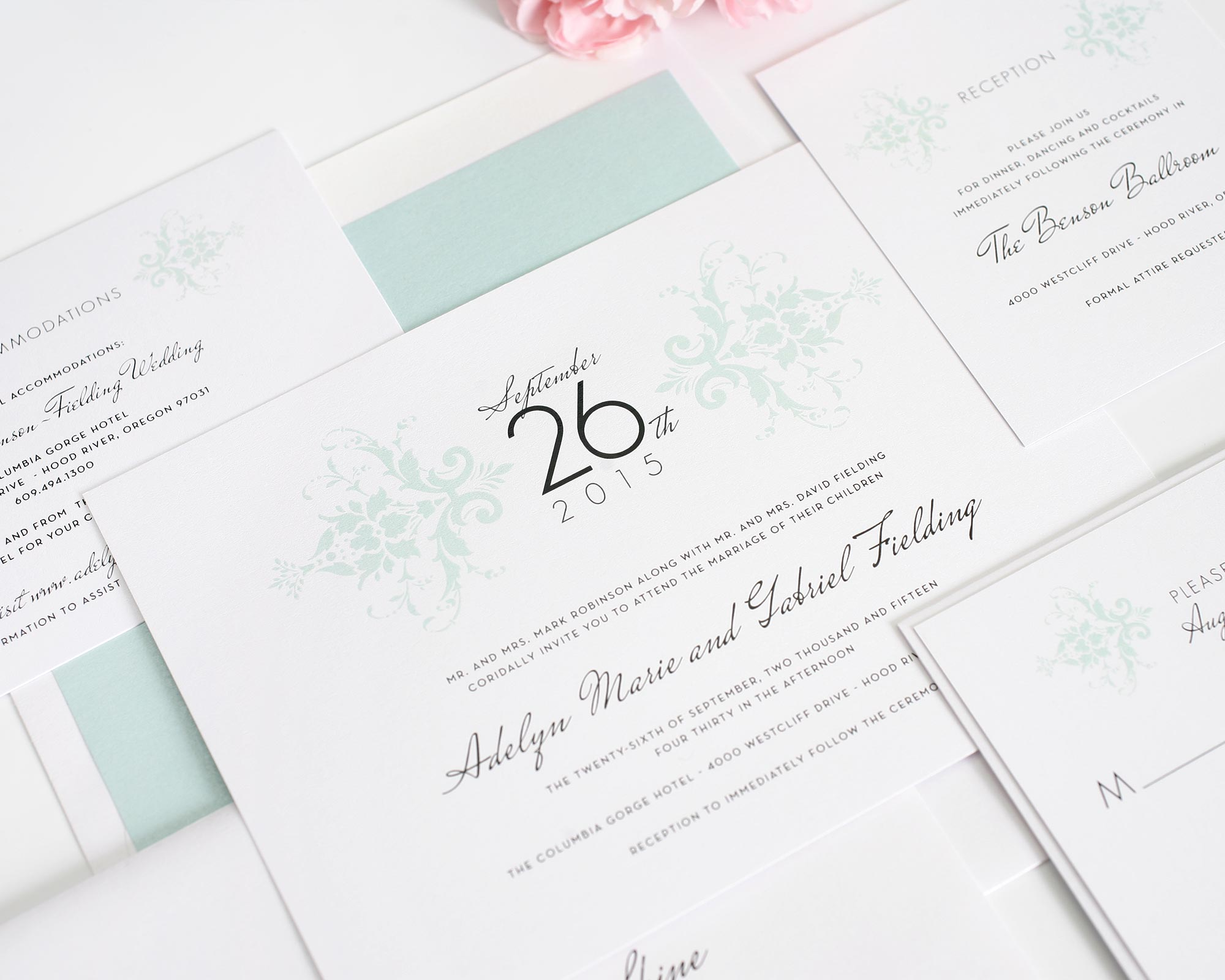 Damask Wedding Invitations in Mint