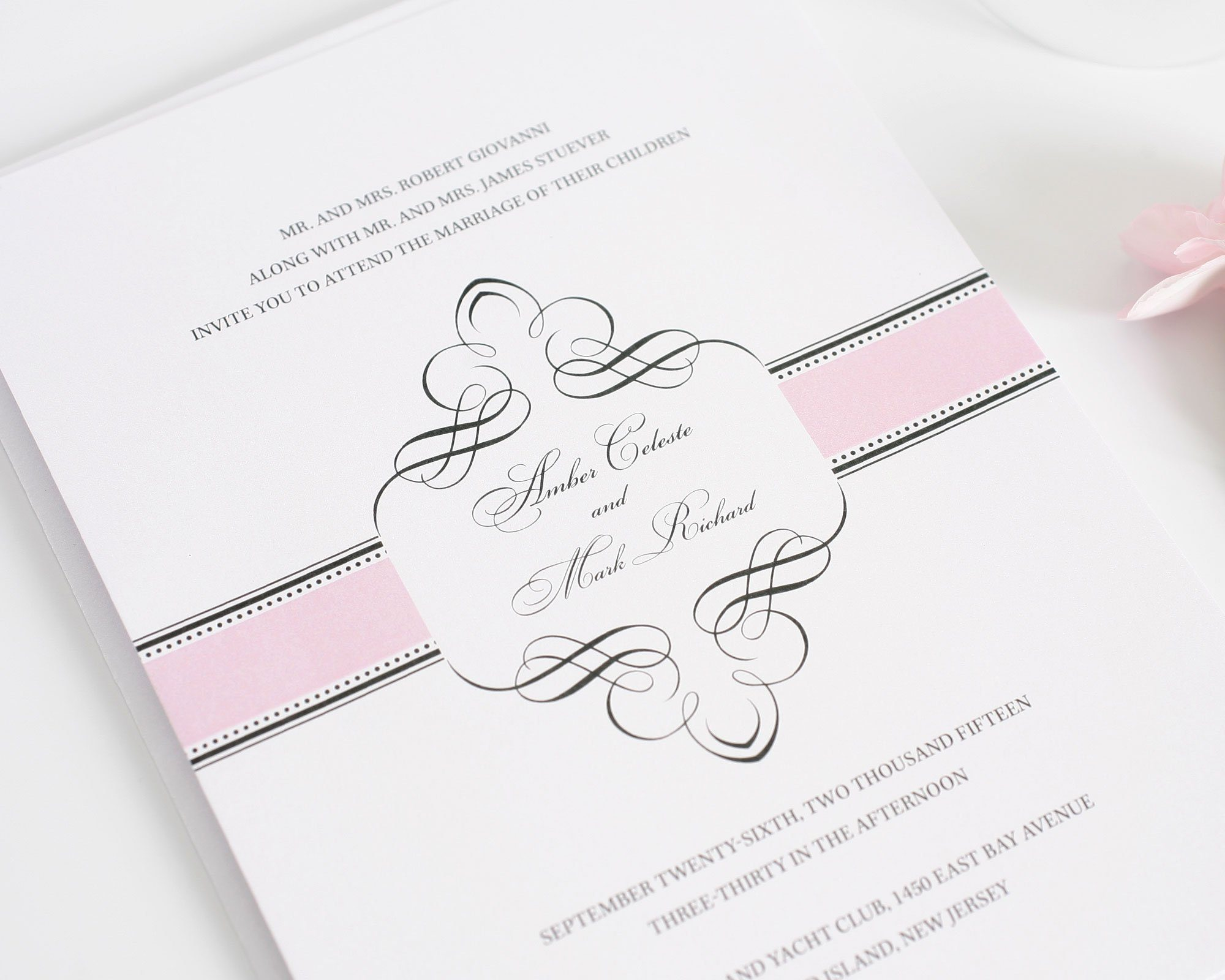 1920s vintage wedding invitations in pink