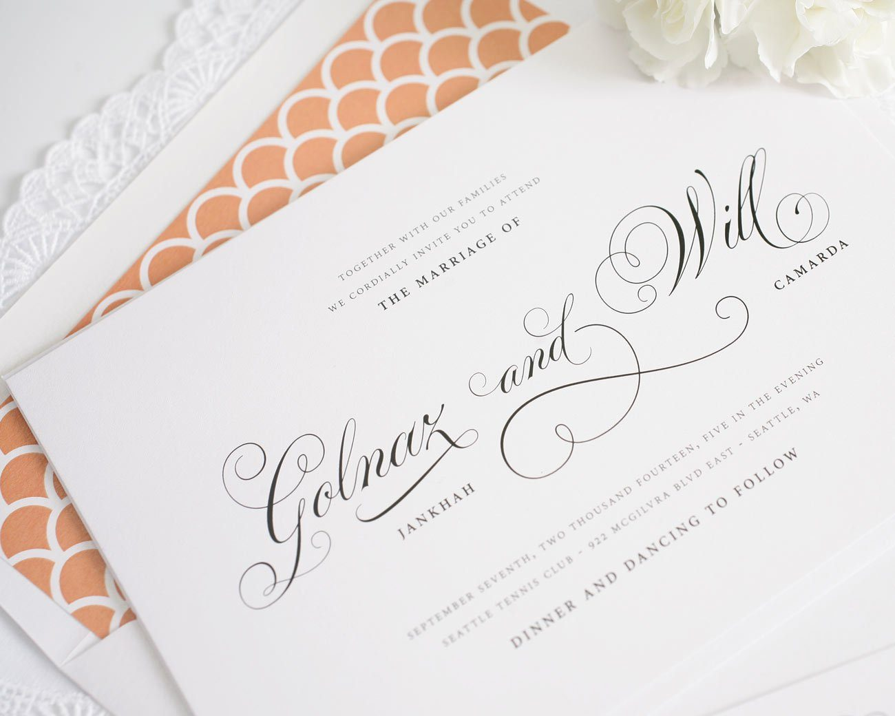 Peach script wedding invitations