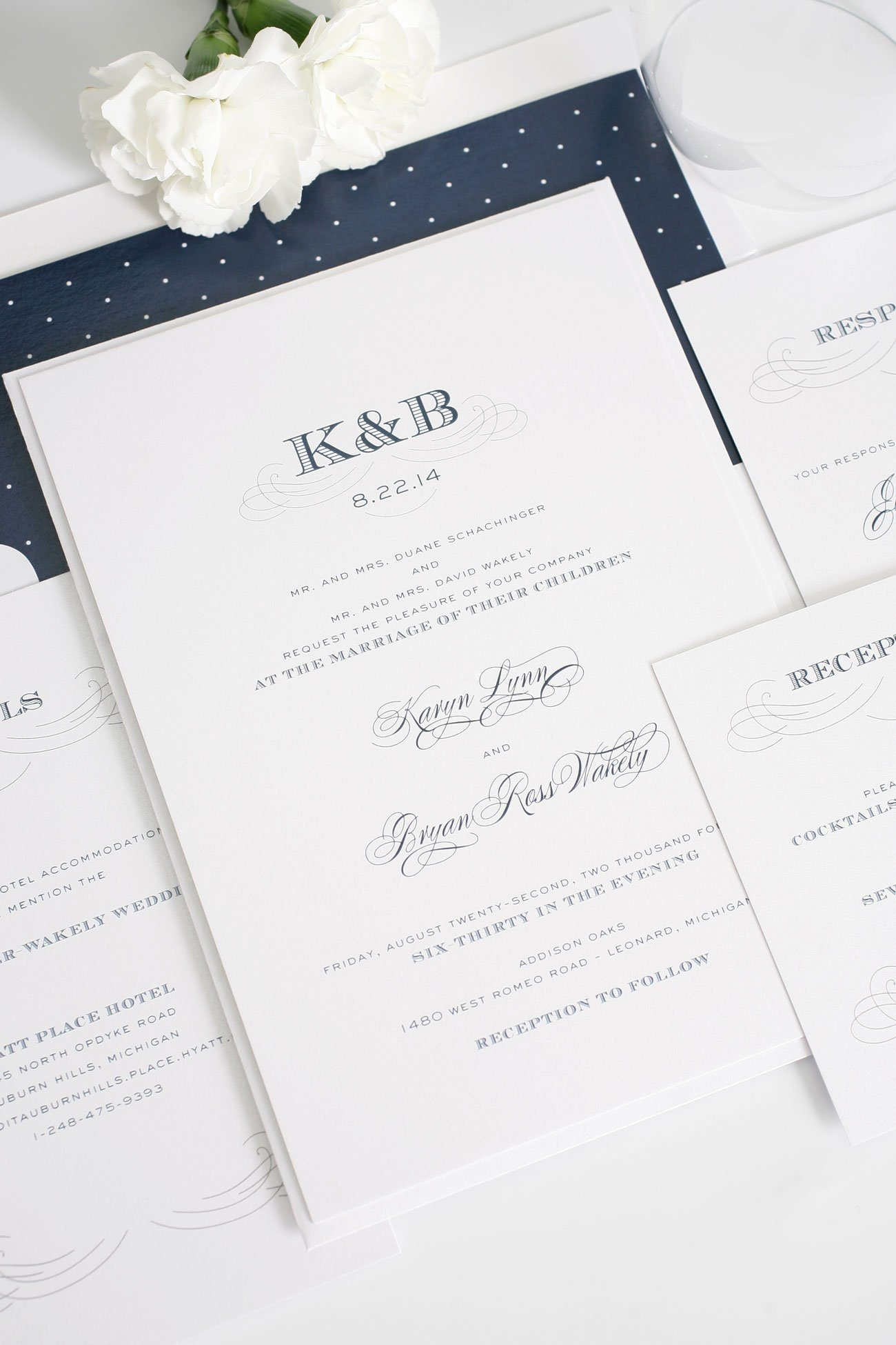 Antique wedding invitations with monogram