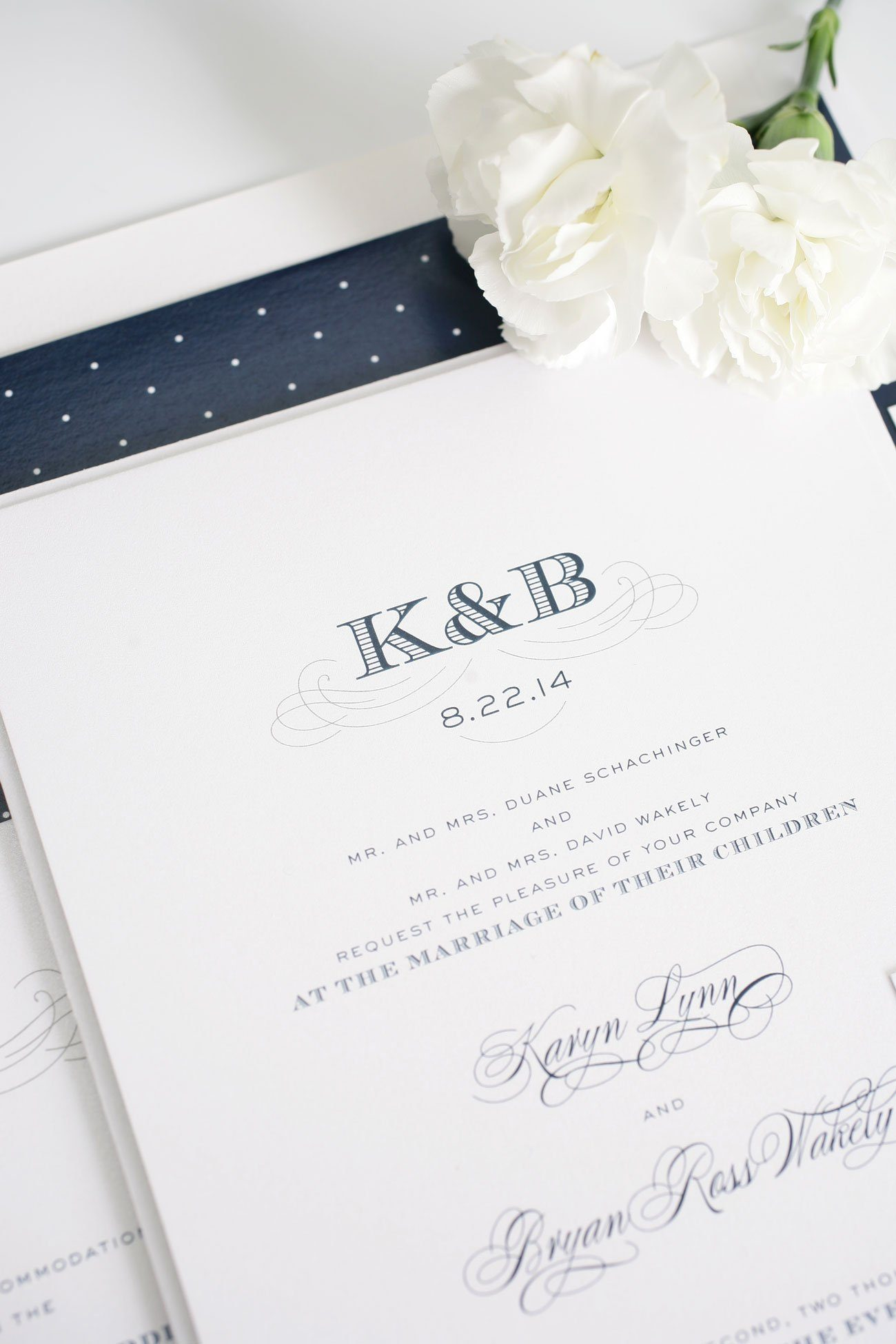 navy antique monogram wedding invitations
