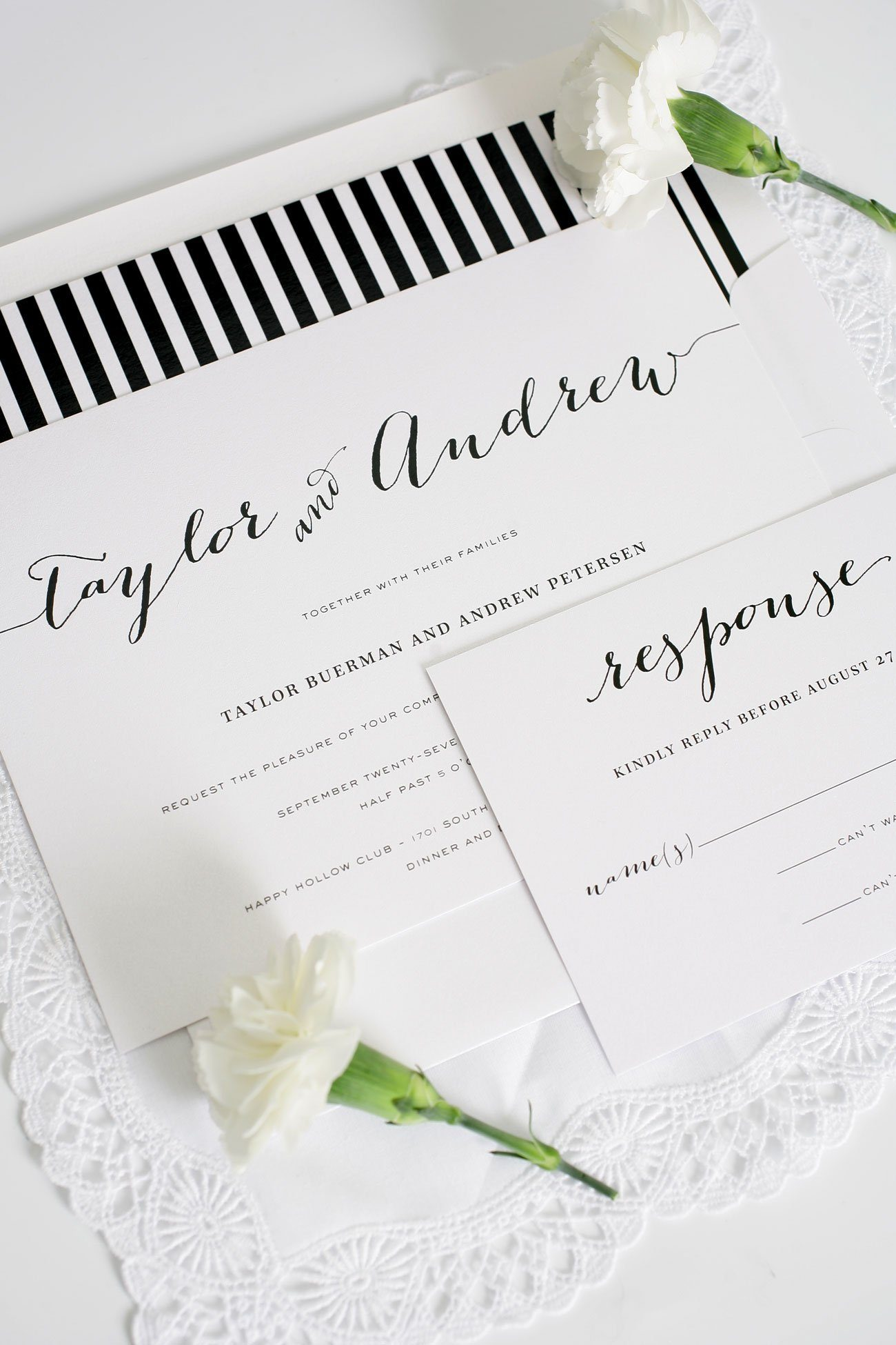... Black And White Striped Script Wedding Invitations