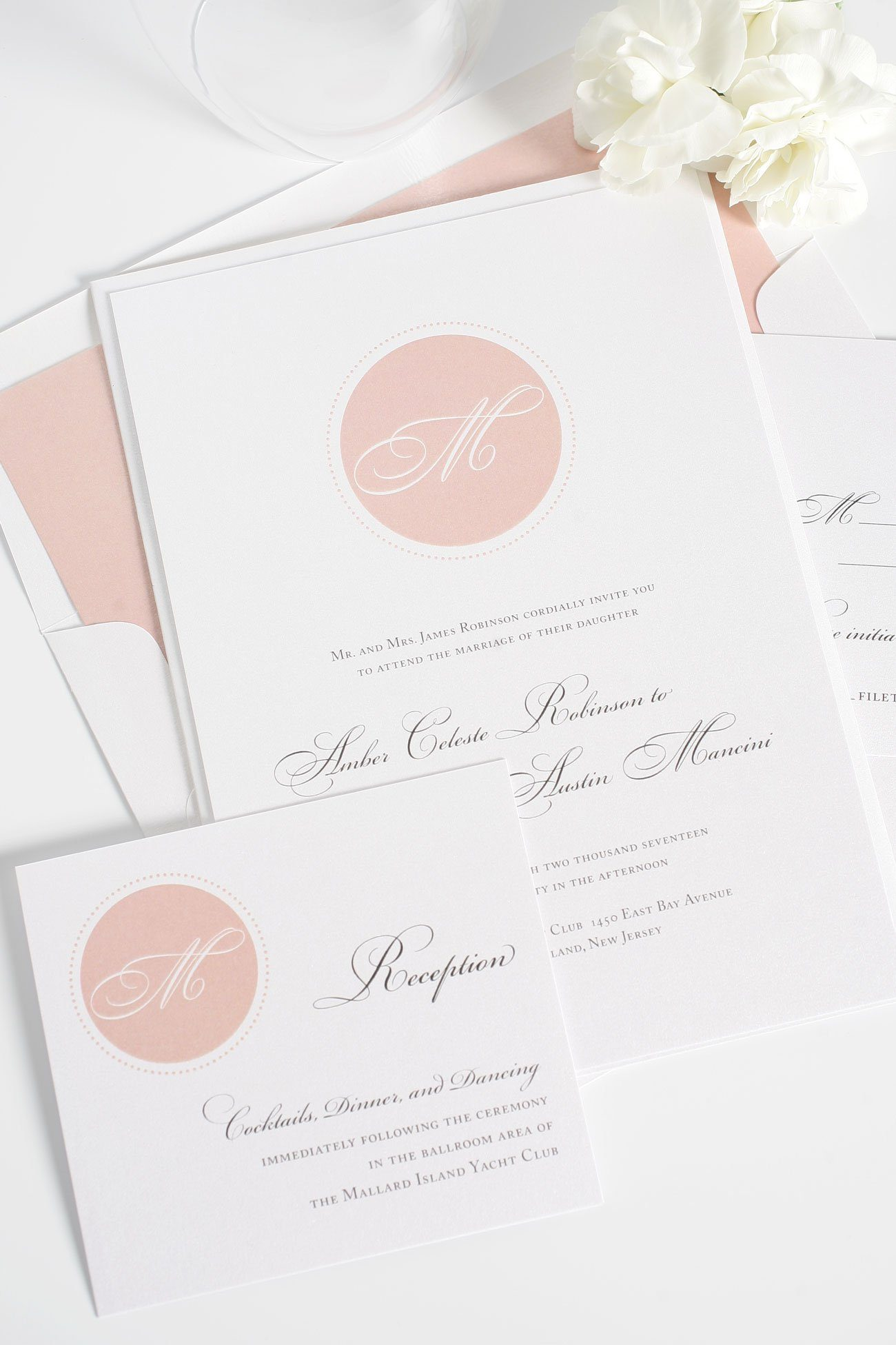 Blush Monogram wedding invitations