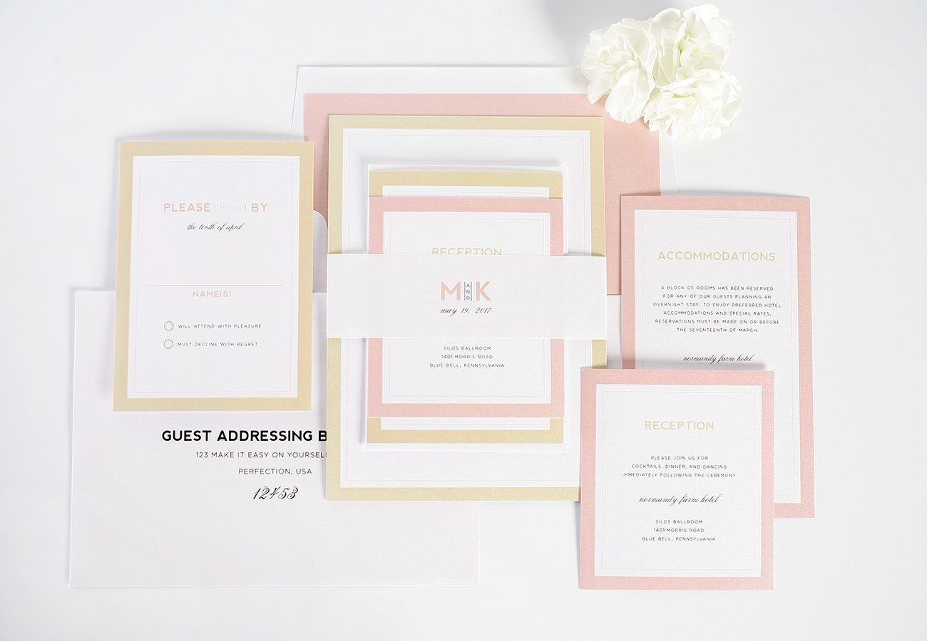 Blush + gold modern wedding invitations