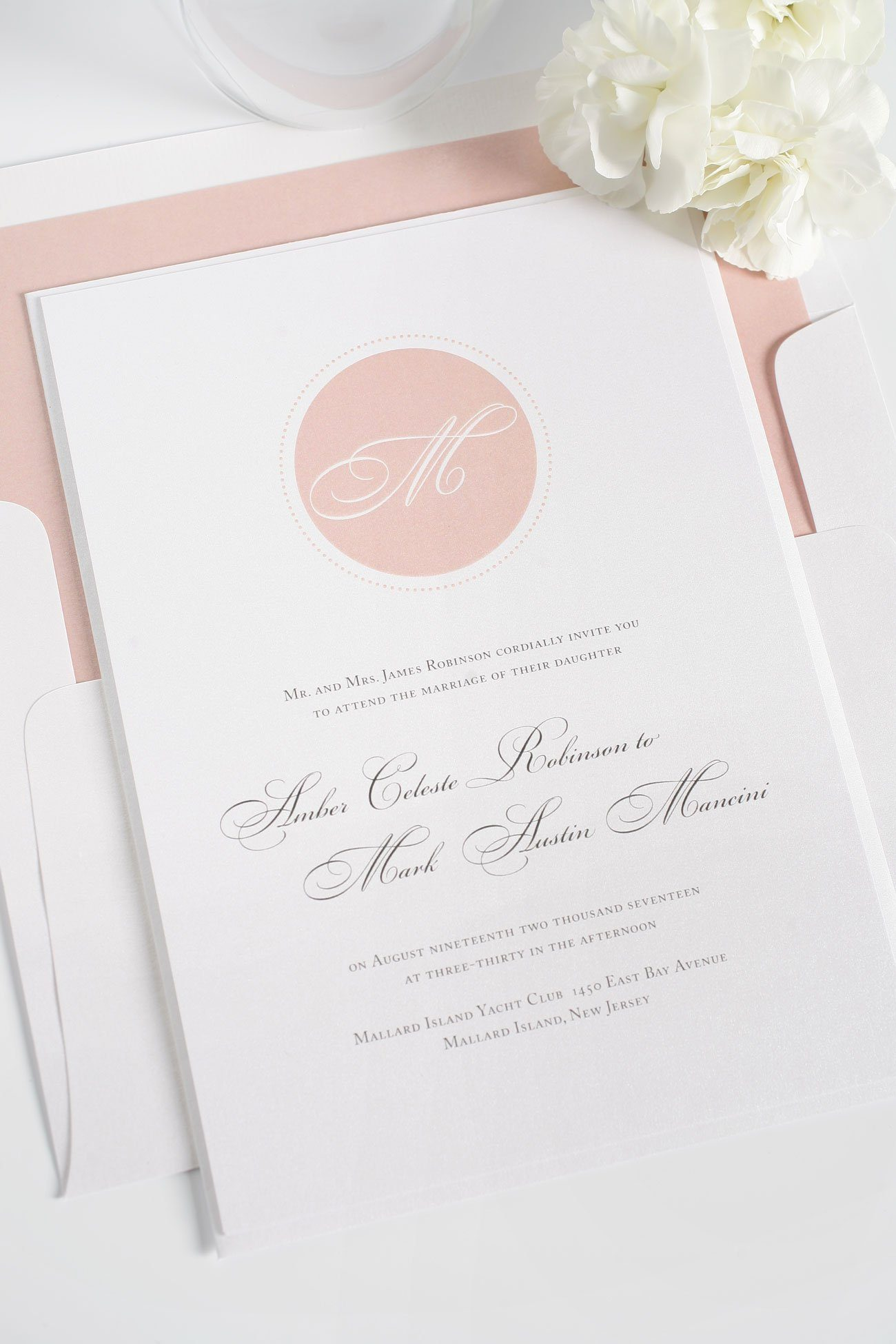 Blush circle monogram wedding invitations