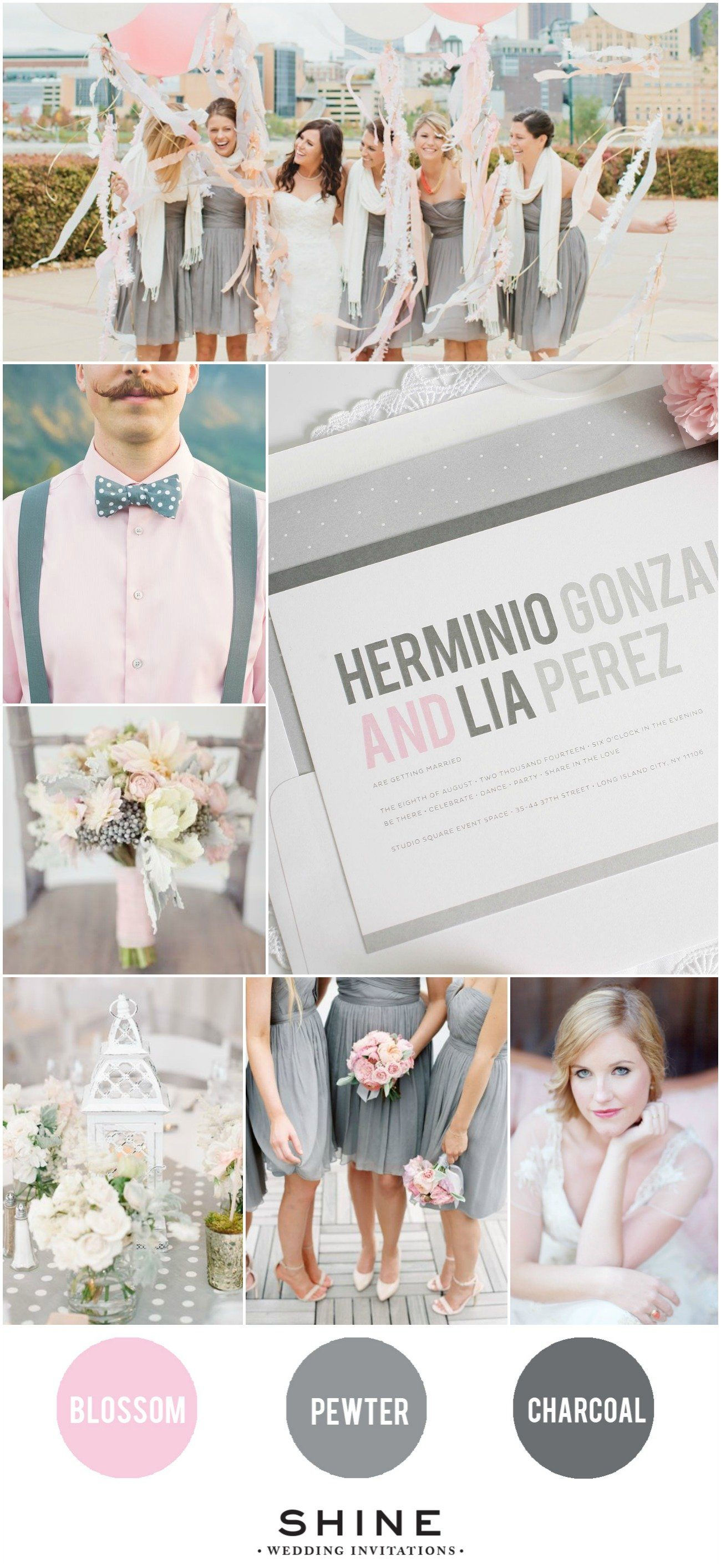 Blush and Gray Polka Dot Wedding Inspiration