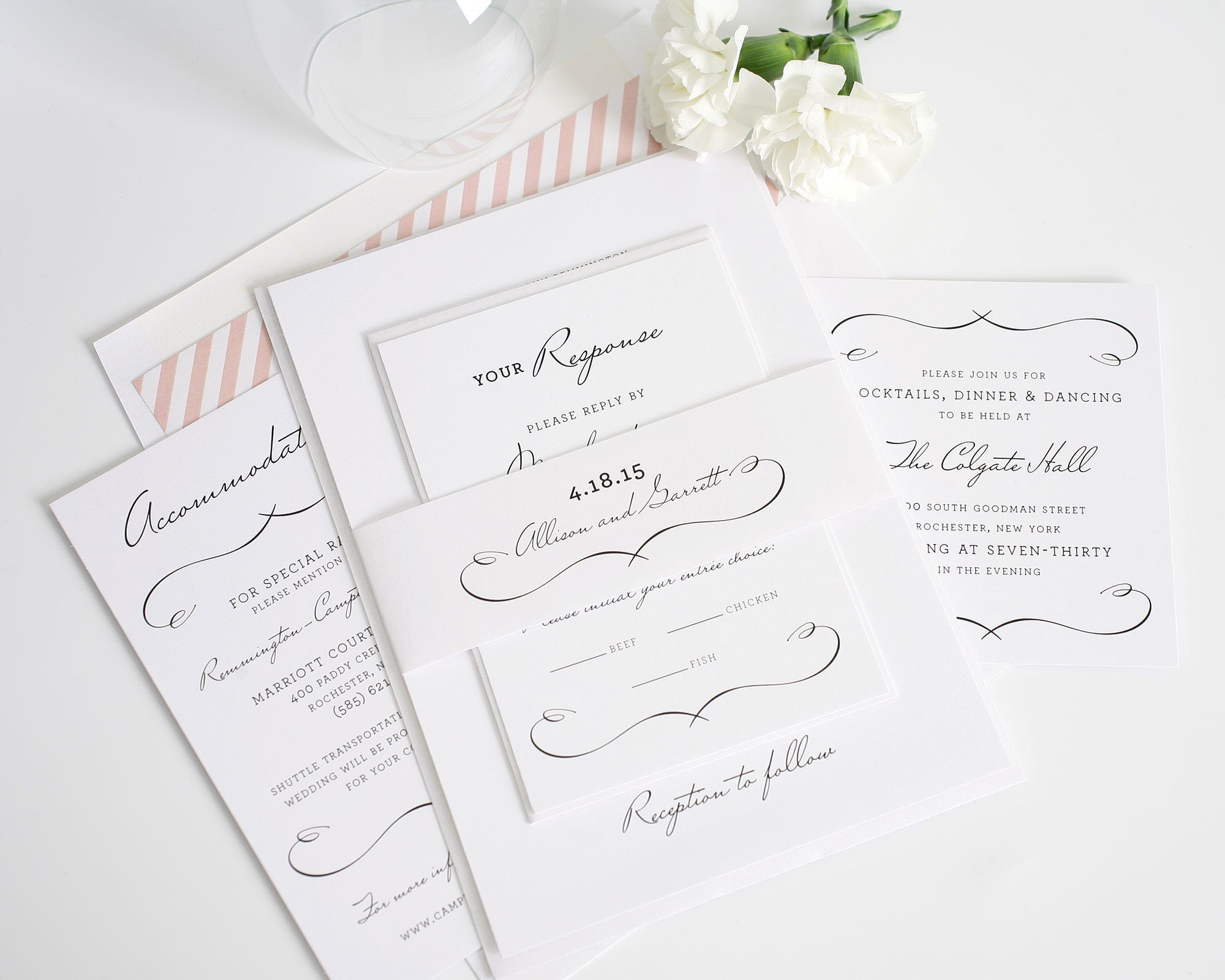 Blush Chic Wedding Invitations With Stripes