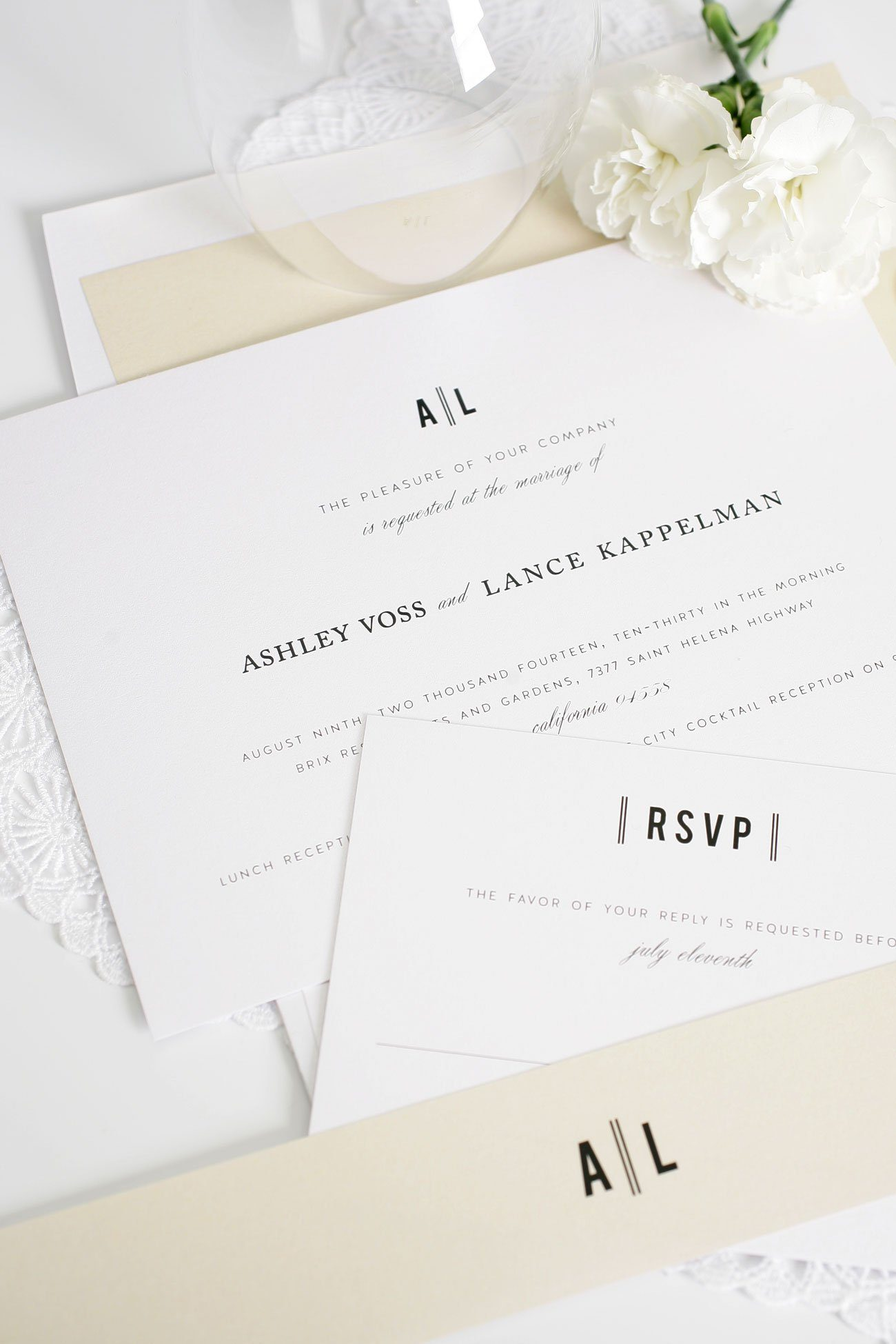 Vintage champagne wedding invites