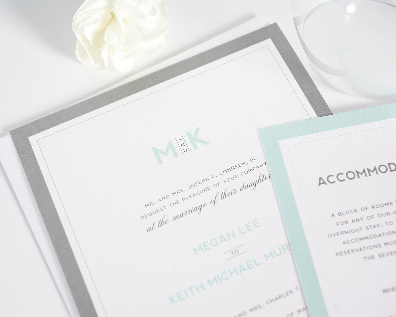 Modern Mint Wedding Invitations Wedding Invitations