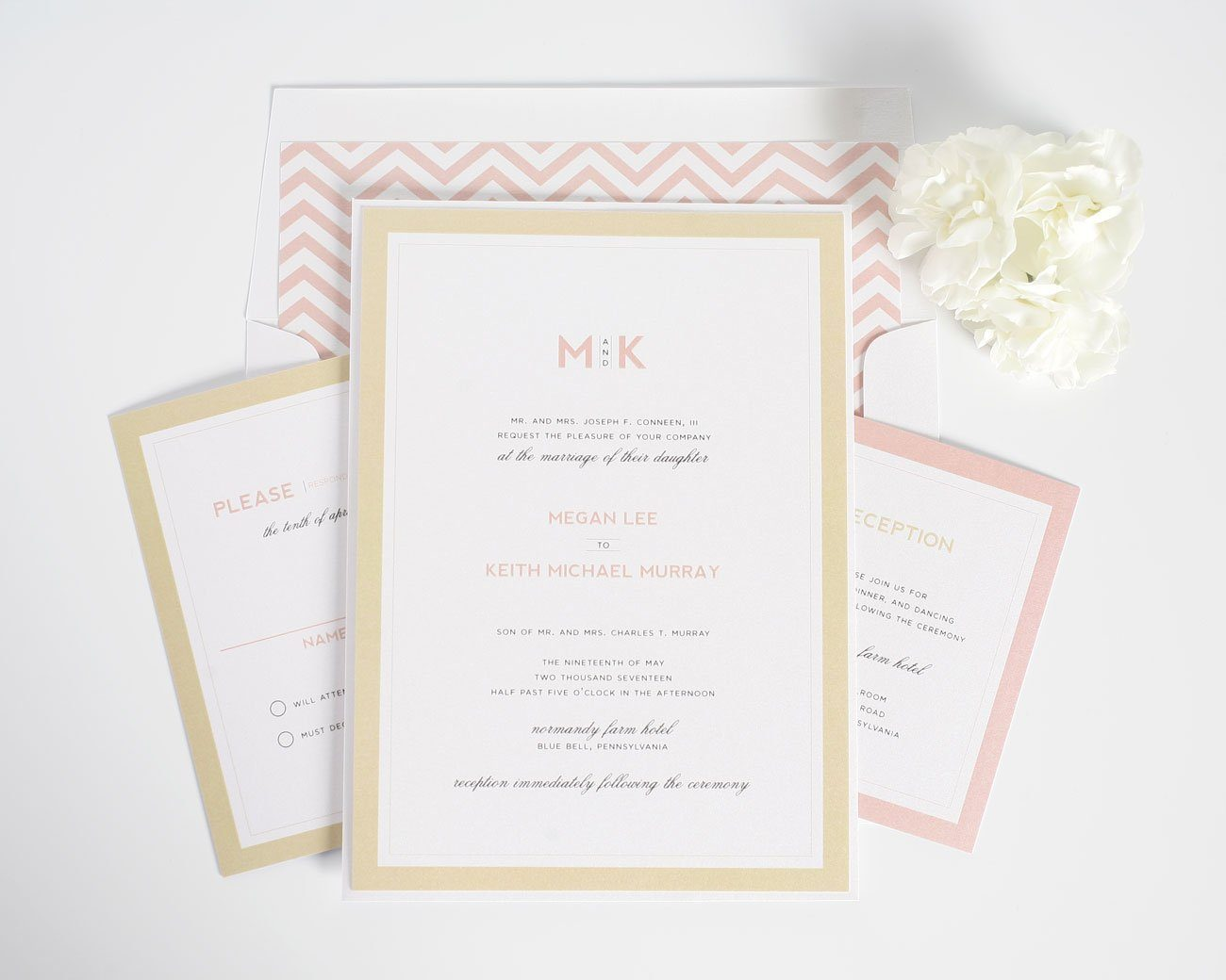 Blush and gold wedding invitations with chevron accents