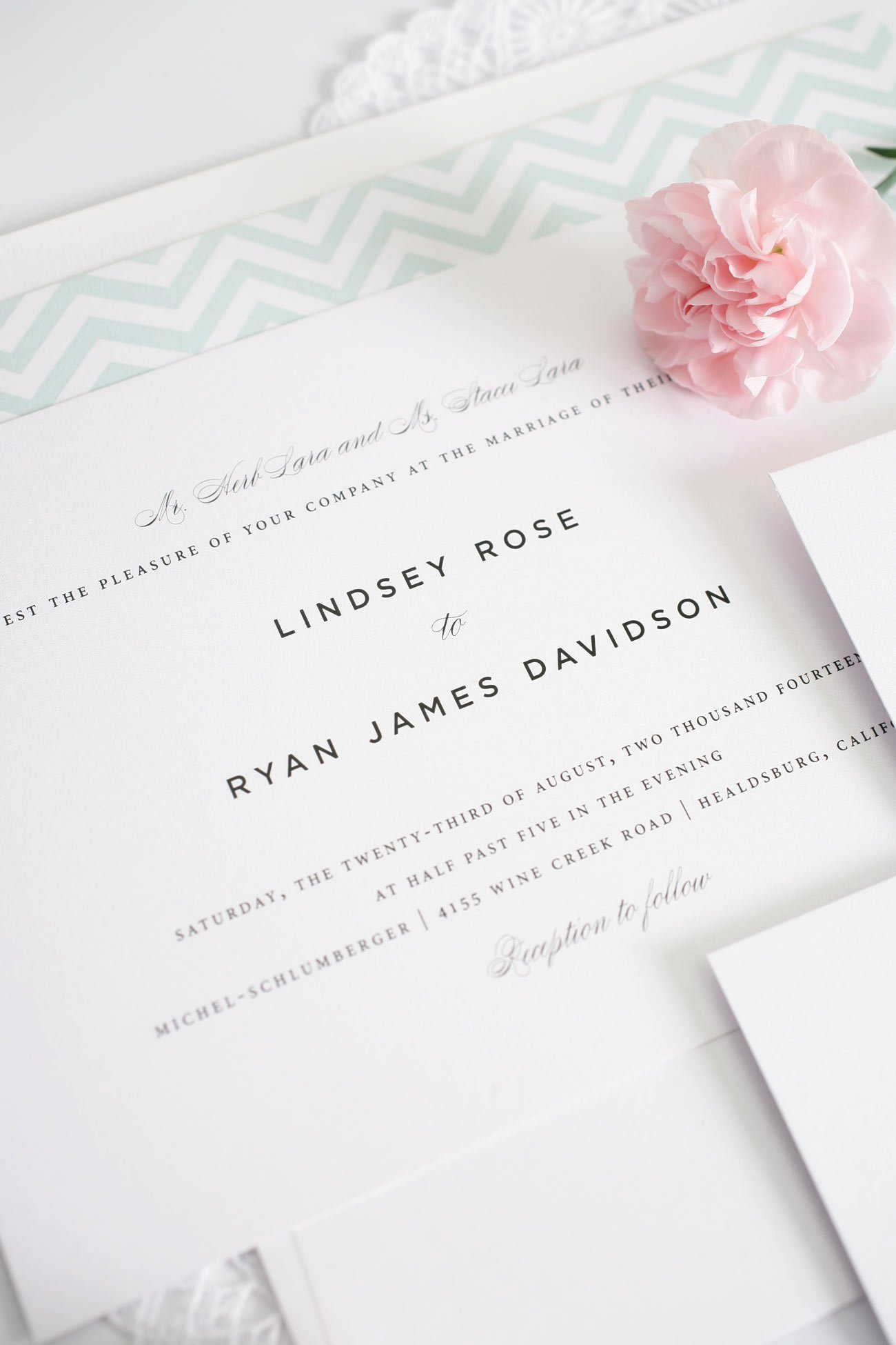 Mint chevron wedding invitations